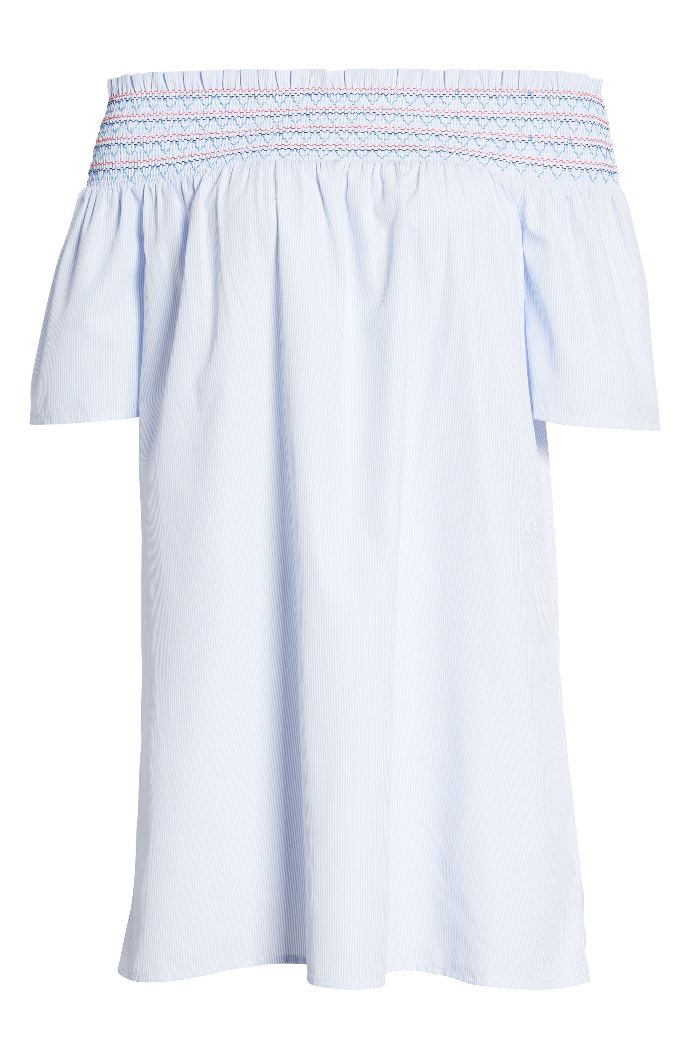 Smocked Off the Shoulder Dress,                             Alternate thumbnail 7, color,                             Bright White / Serenity