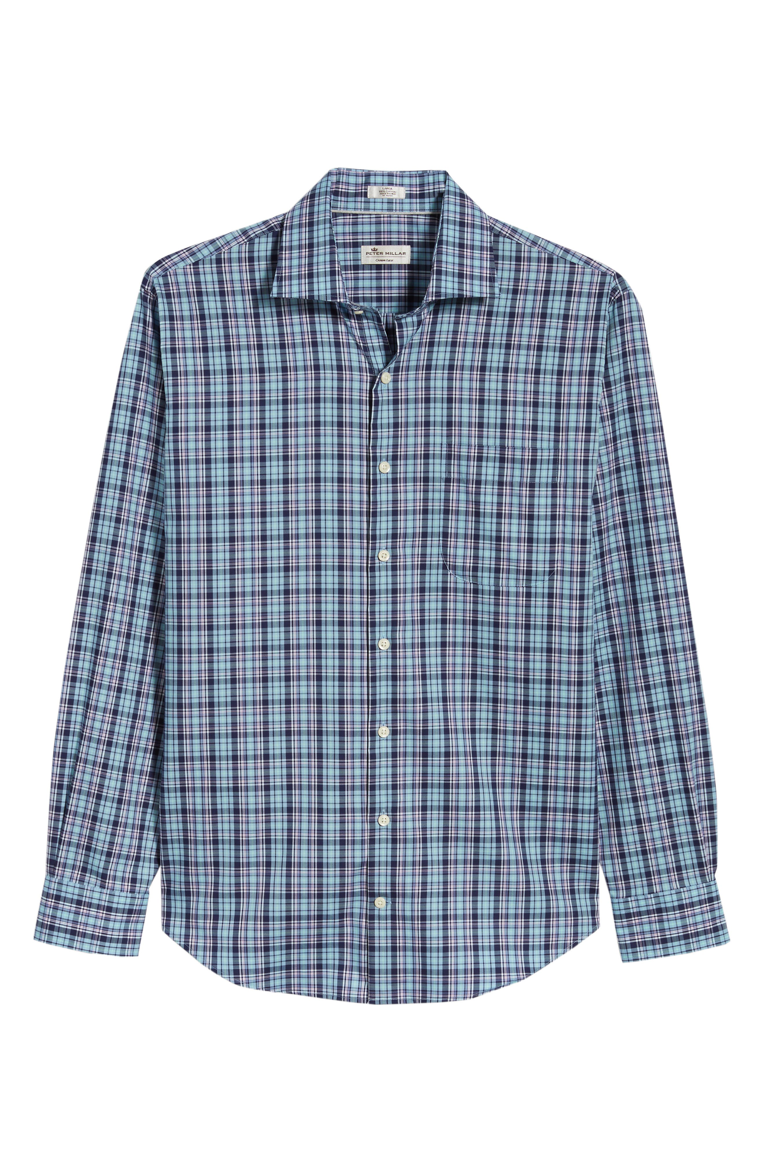Crown Ease Laguna Plaid Sport Shirt,                             Alternate thumbnail 6, color,                             Tar Heel Blue