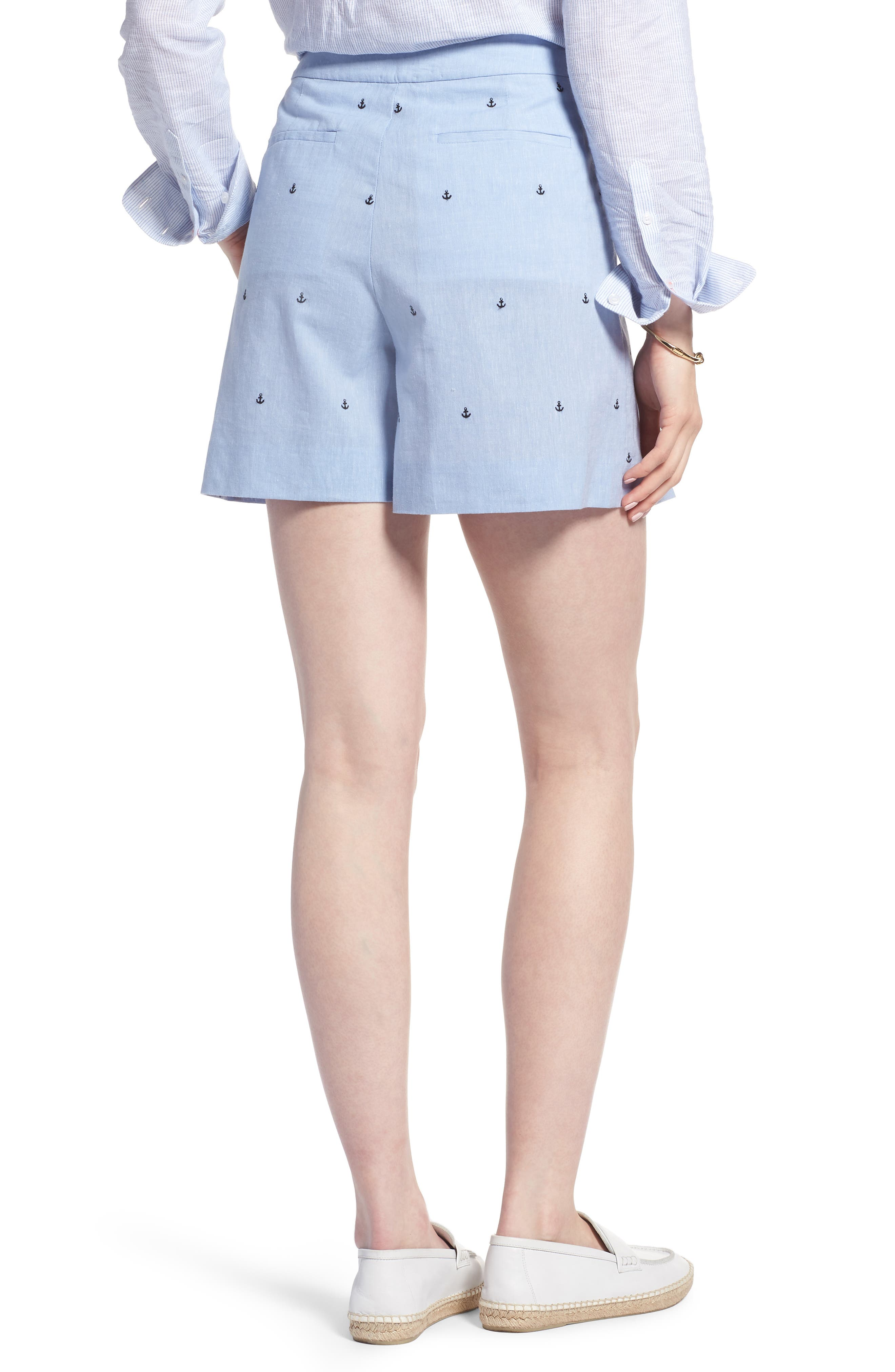 Anchor Embroidery Pleated Cotton Shorts,                             Alternate thumbnail 2, color,                             Chambray Anchor Print