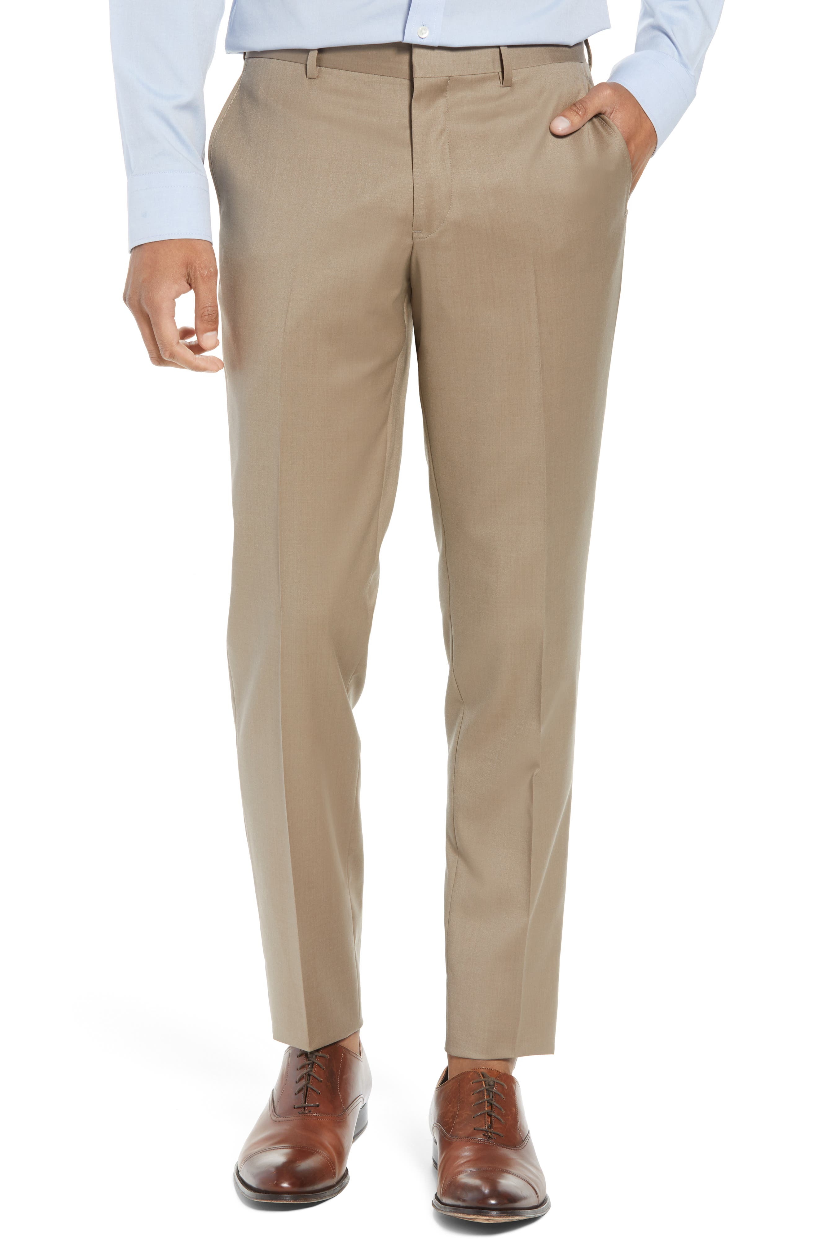 Flat Front Tech-Smart Extra Trim Trousers,                         Main,                         color, Tan