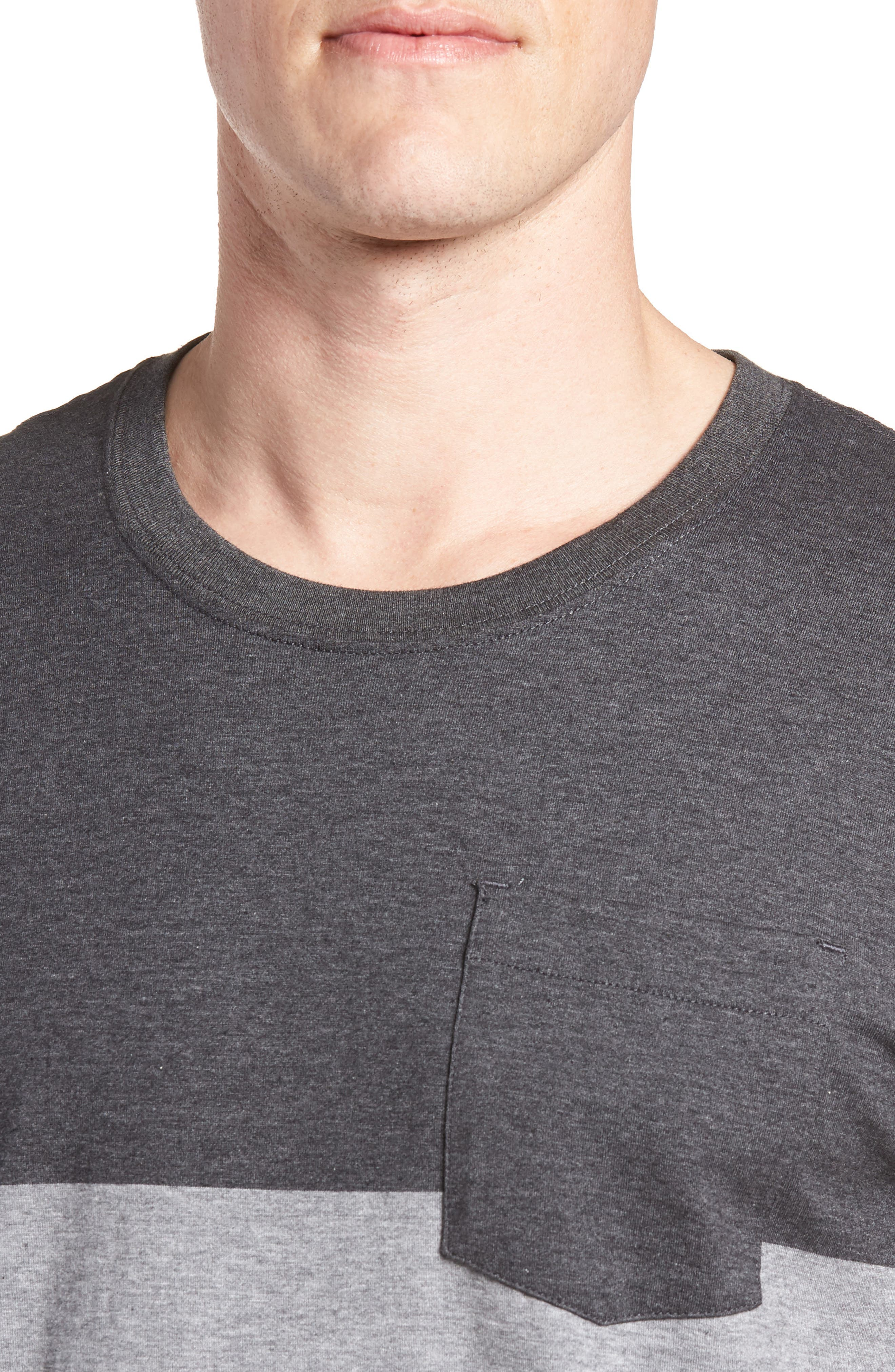 Kramp Colorblock Pocket T-Shirt,                             Alternate thumbnail 4, color,                             Heather Grey Pinstripe