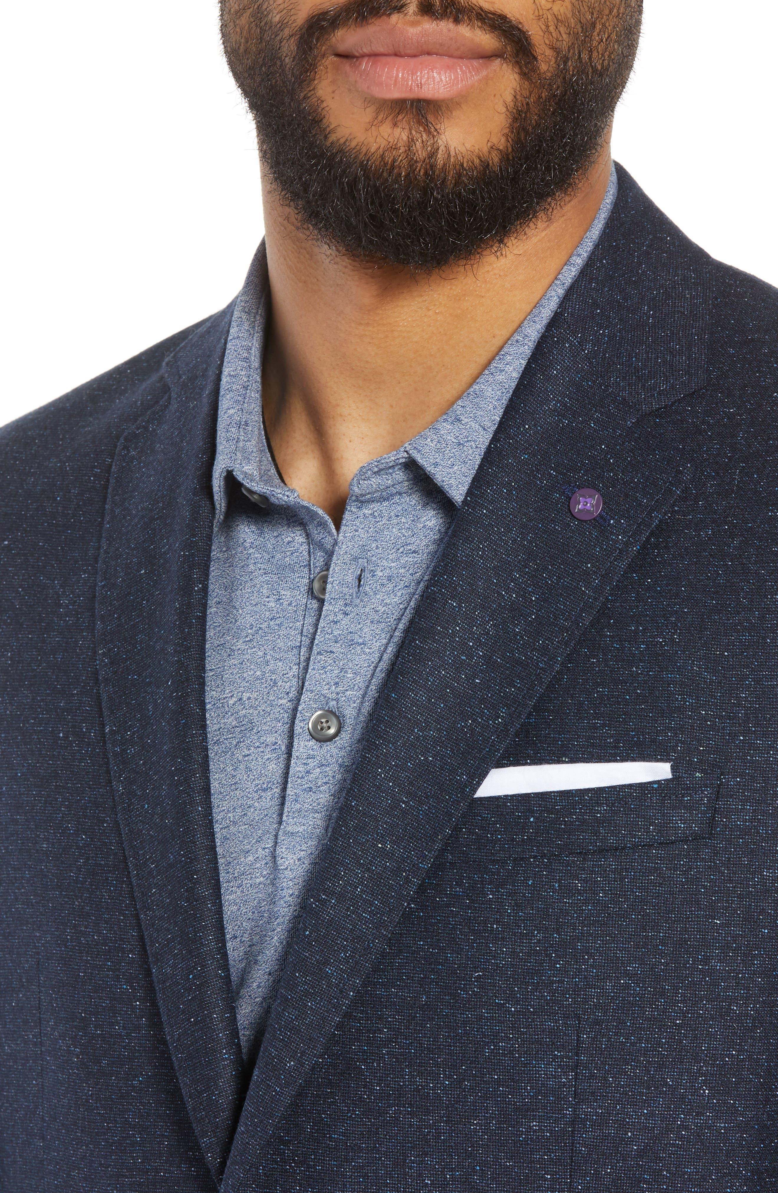 Jay Trim Fit Tweed Wool & Silk Sport Coat,                             Alternate thumbnail 4, color,                             Blue