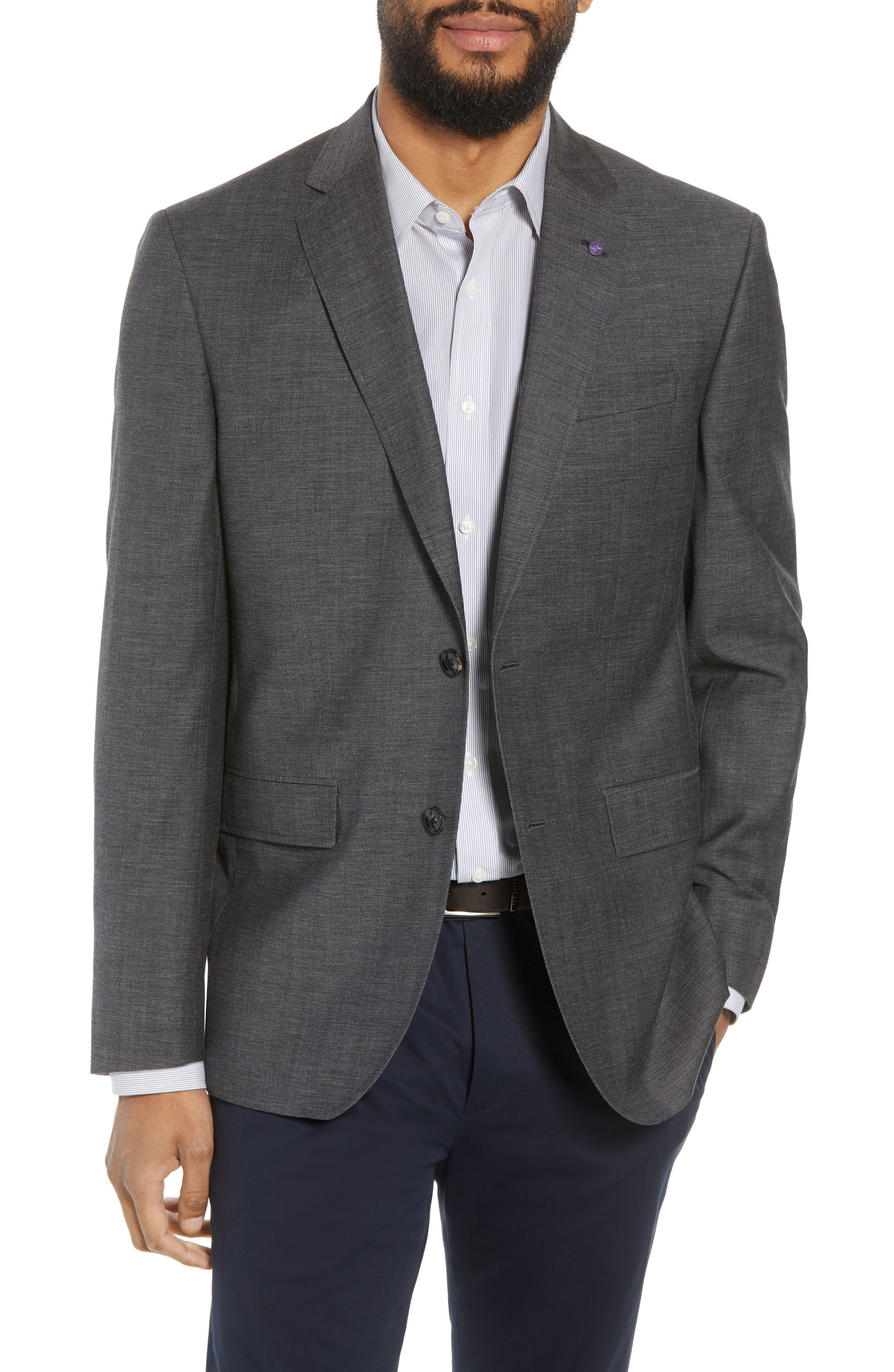 Jay Trim Fit Heathered Wool & Cotton Sport Coat,                         Main,                         color, Grey