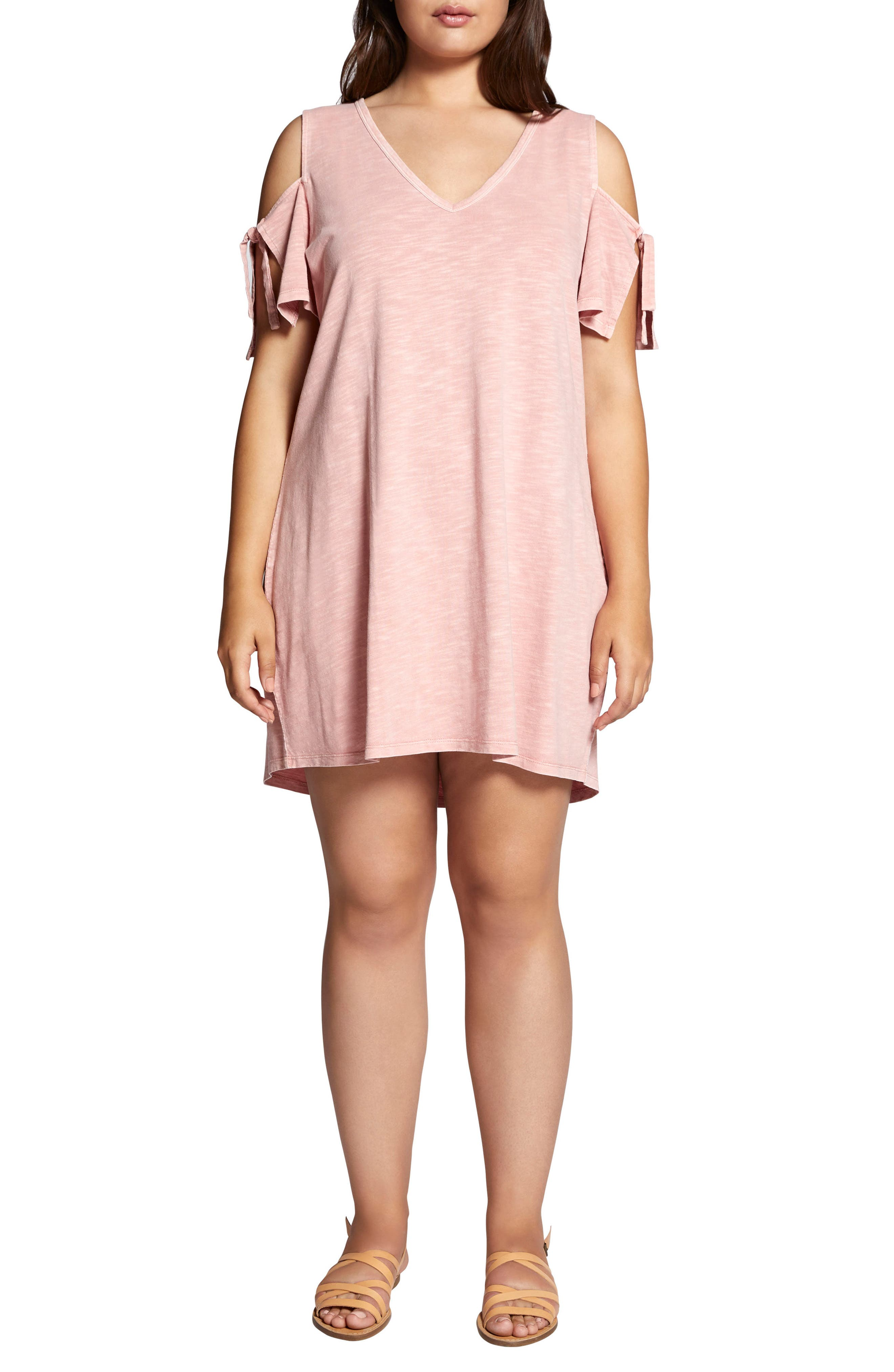 Lakeside T-Shirt Dress,                         Main,                         color, Adobe