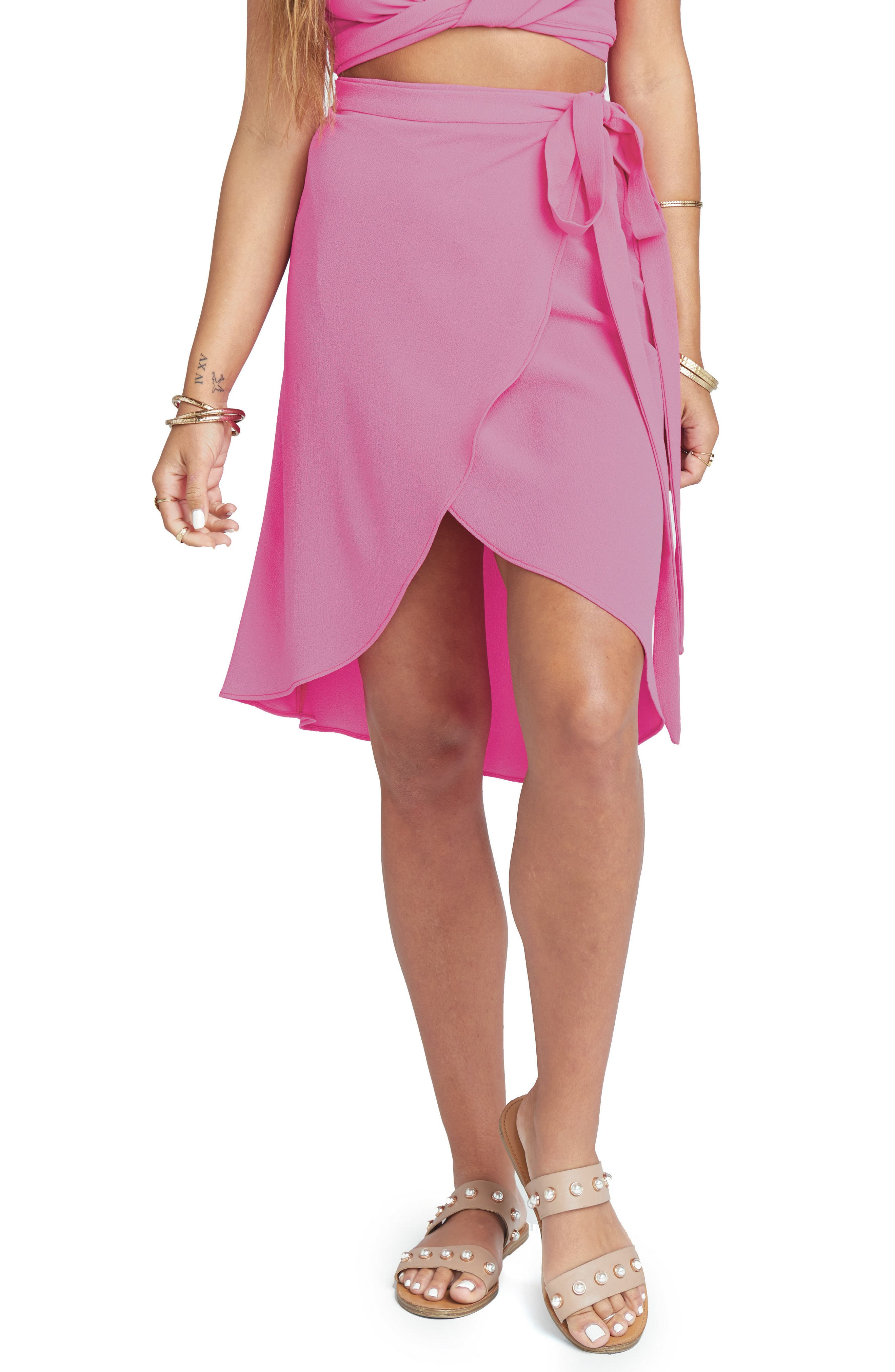 Panama Wrap Skirt,                         Main,                         color, Hot Pink Crinkle Stretch