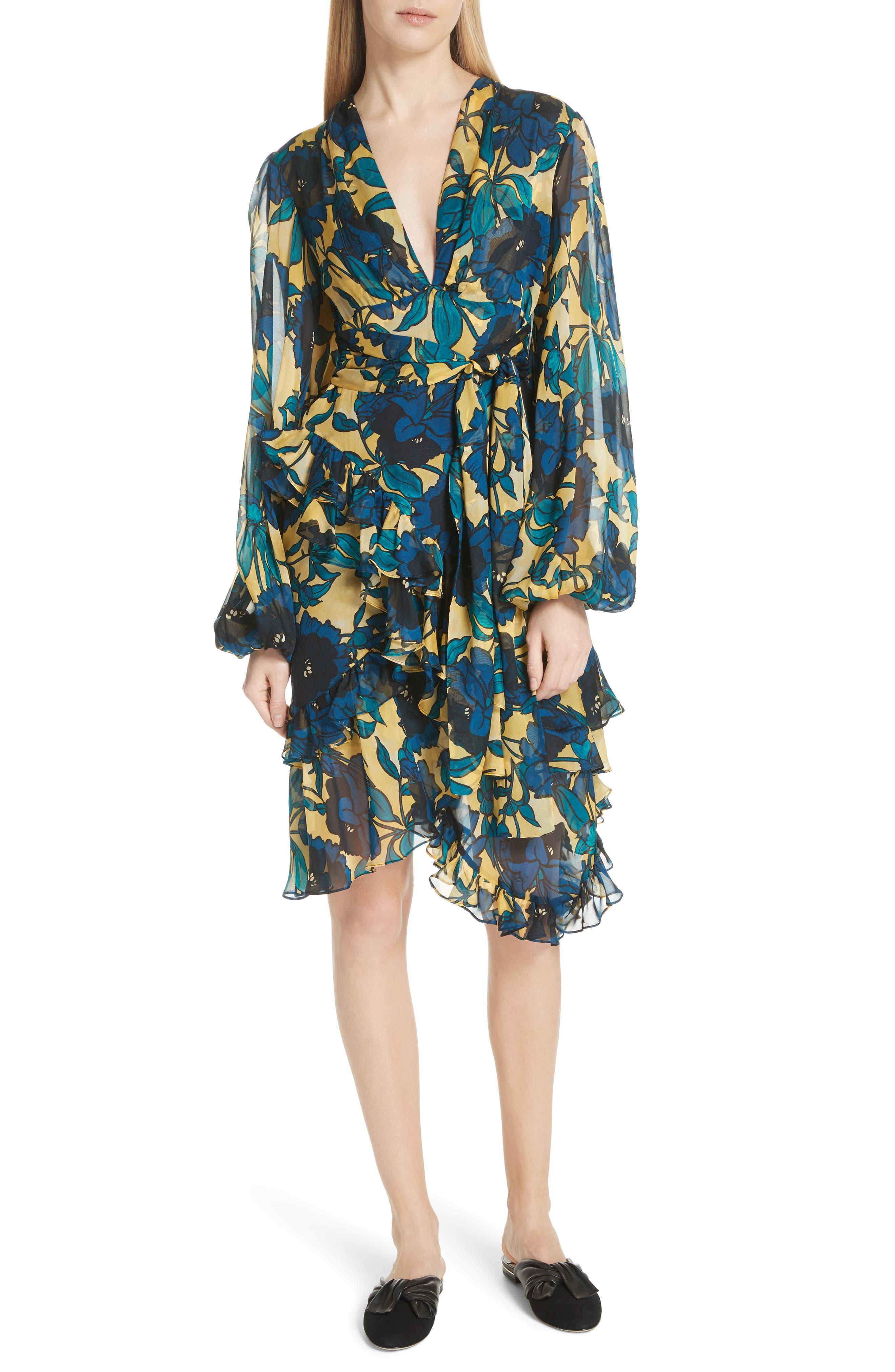 CAROLINE CONSTAS PEYTON SILK DRESS