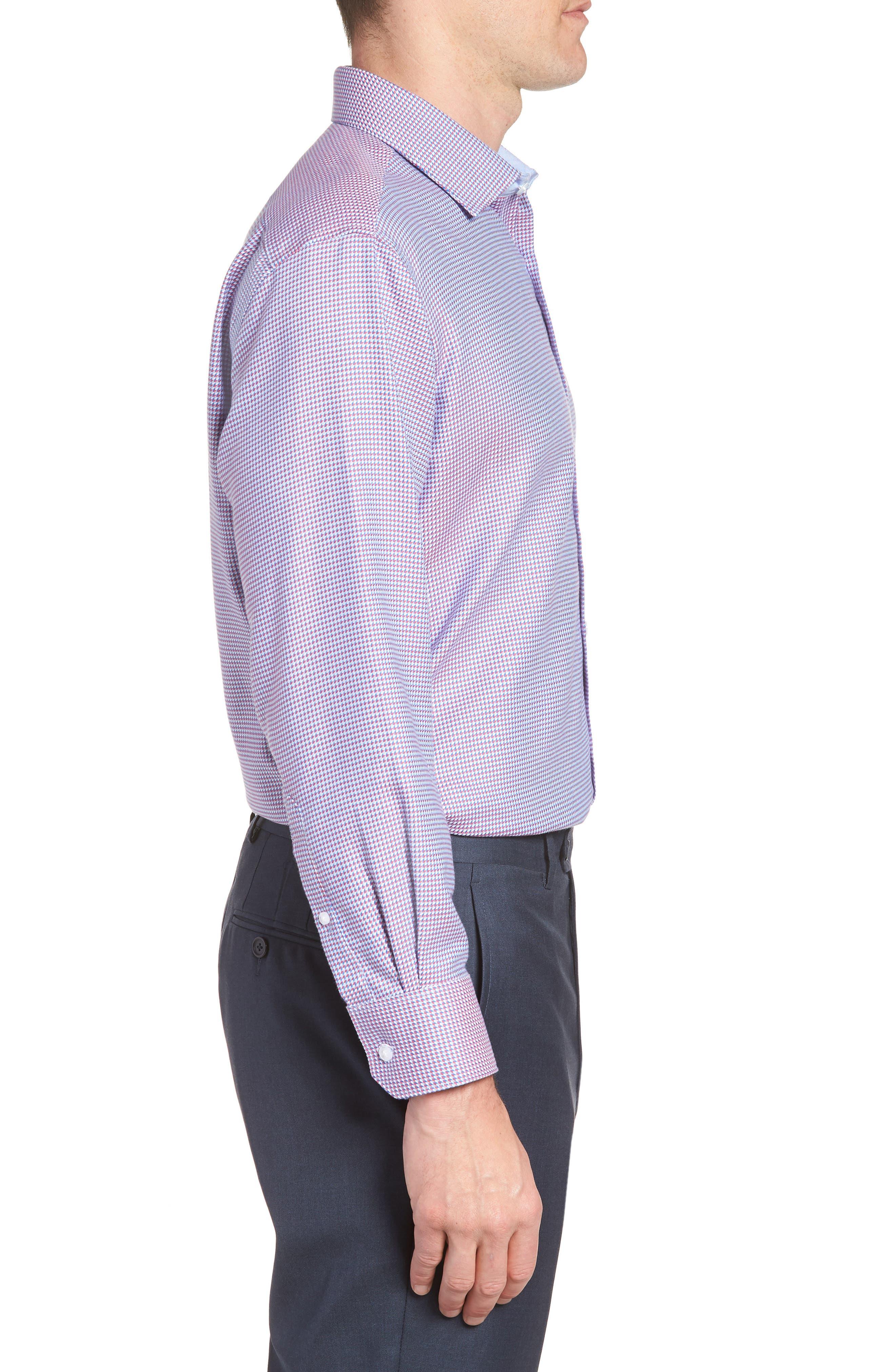 Axton Trim Fit Geometric Dress Shirt,                             Alternate thumbnail 4, color,                             Red/ Blue
