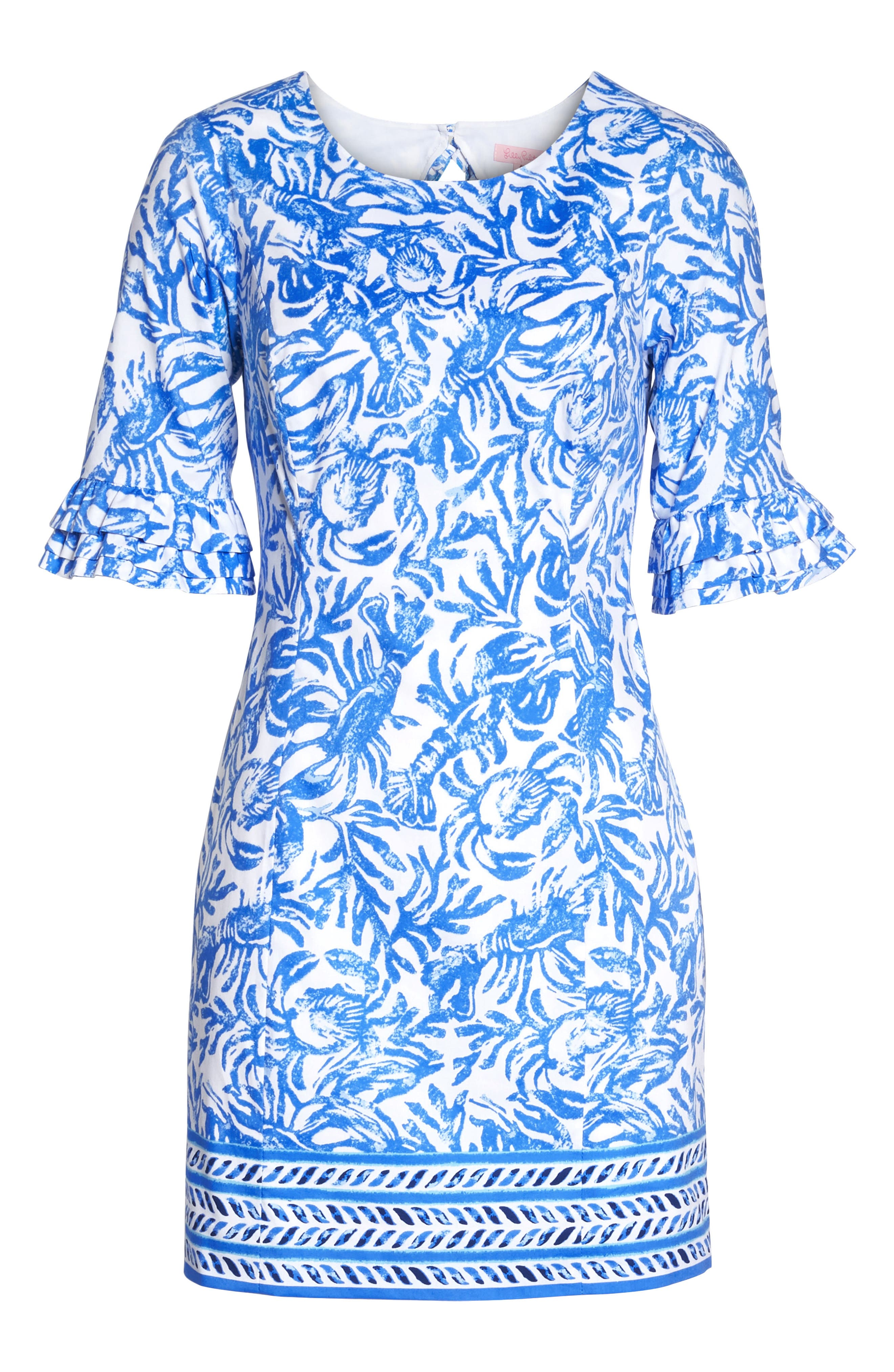Fiesta Stretch Sheath Dress,                             Alternate thumbnail 6, color,                             Resort White On A Roll