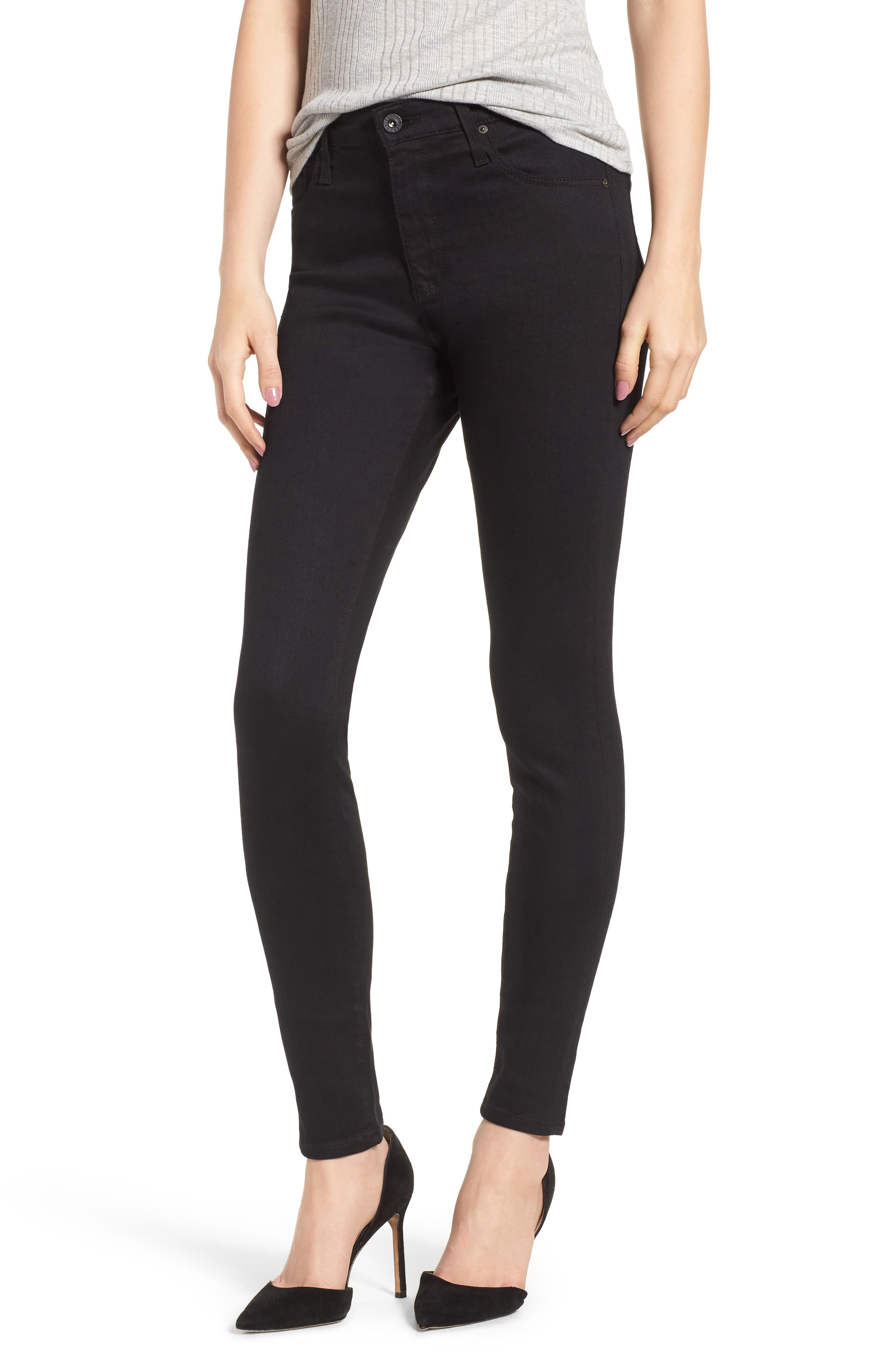 'The Farrah' High Rise Skinny Jeans,                         Main,                         color, Overdyed Black
