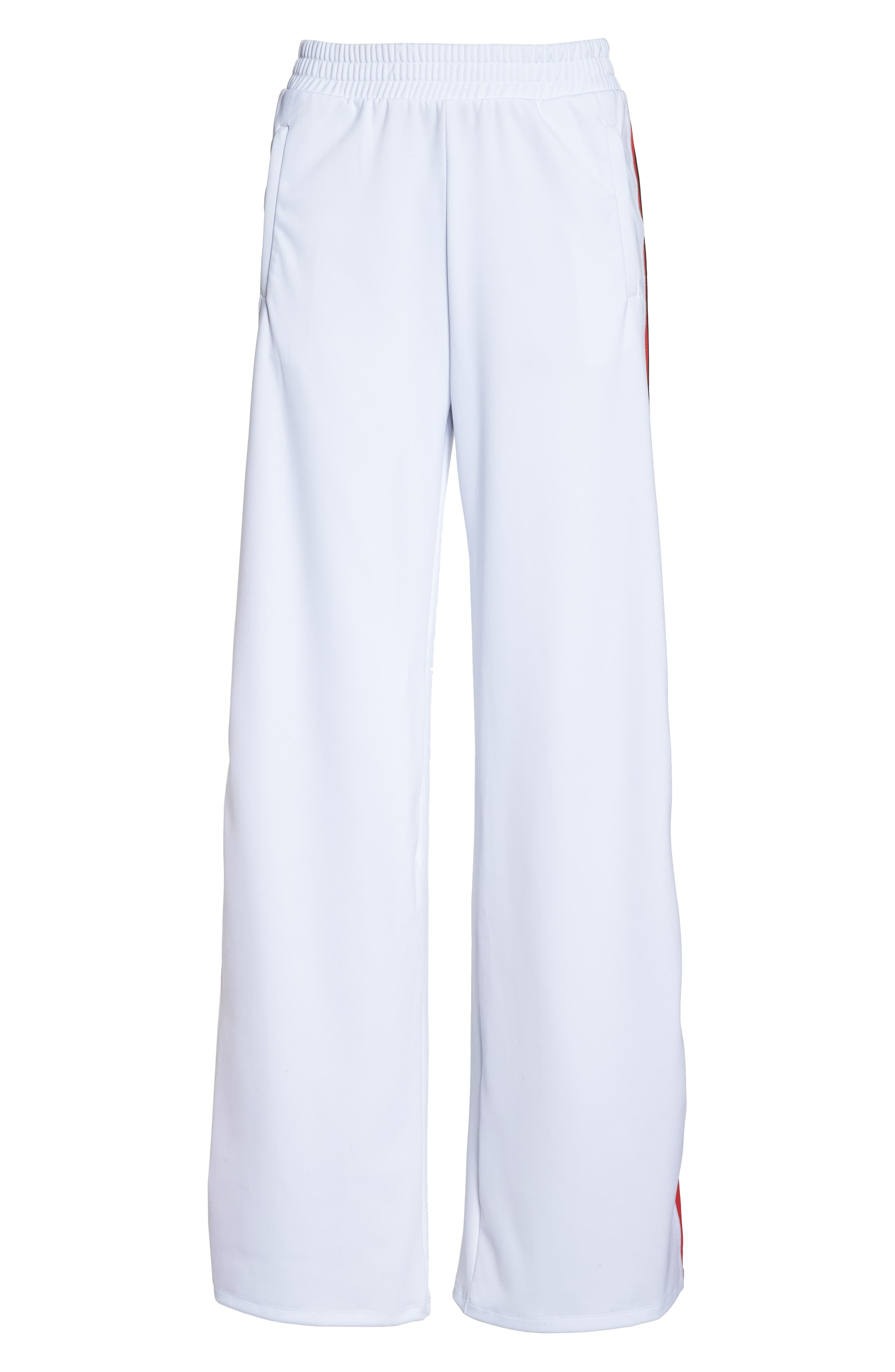 Wide Leg Track Pants,                             Alternate thumbnail 7, color,                             White/ Red/ Black