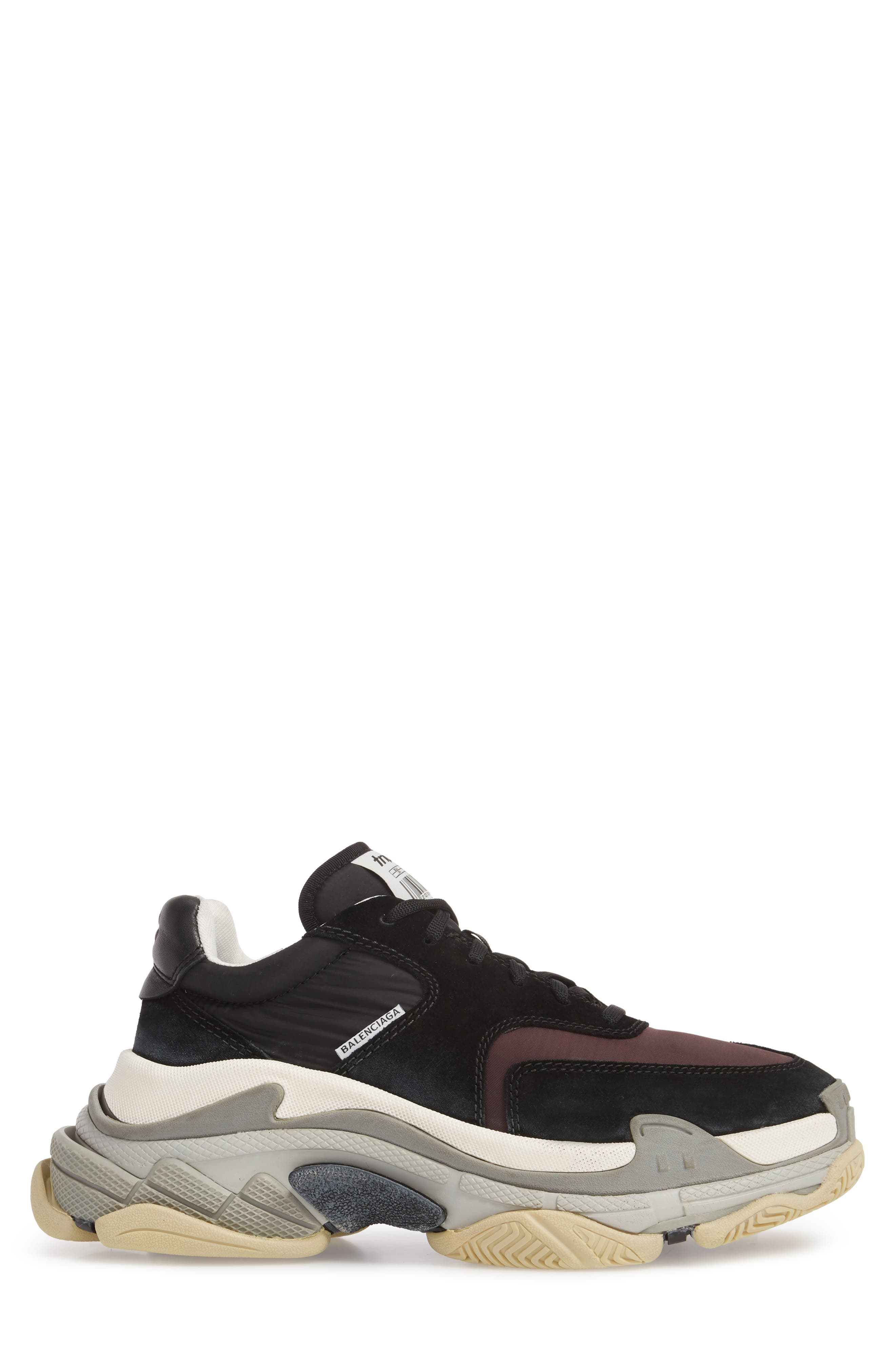 Triple S Retro Sneaker,                             Alternate thumbnail 3, color,                             Black/ Bordeaux