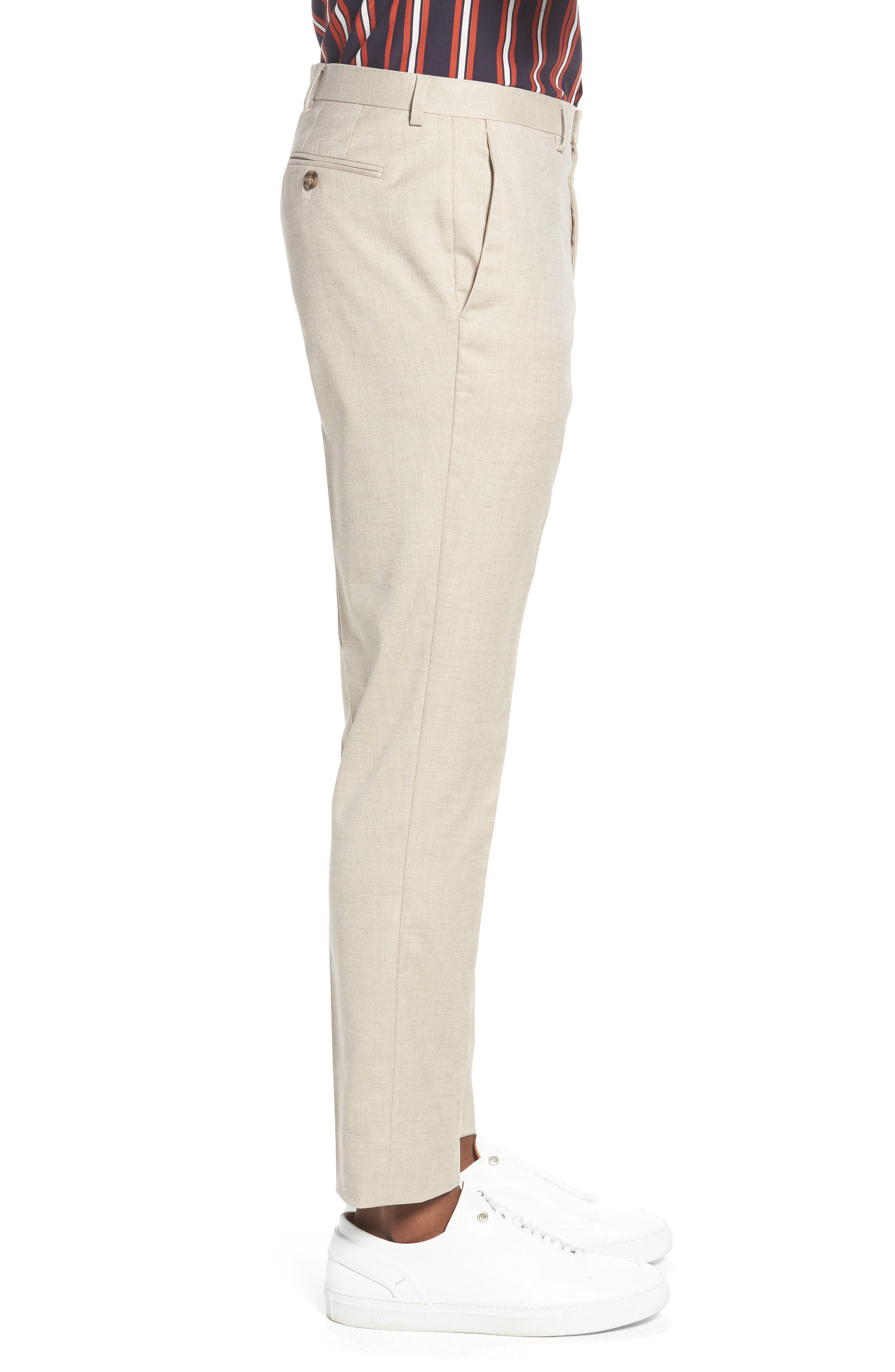 Skinny Fit Suit Trousers,                             Alternate thumbnail 3, color,                             Stone