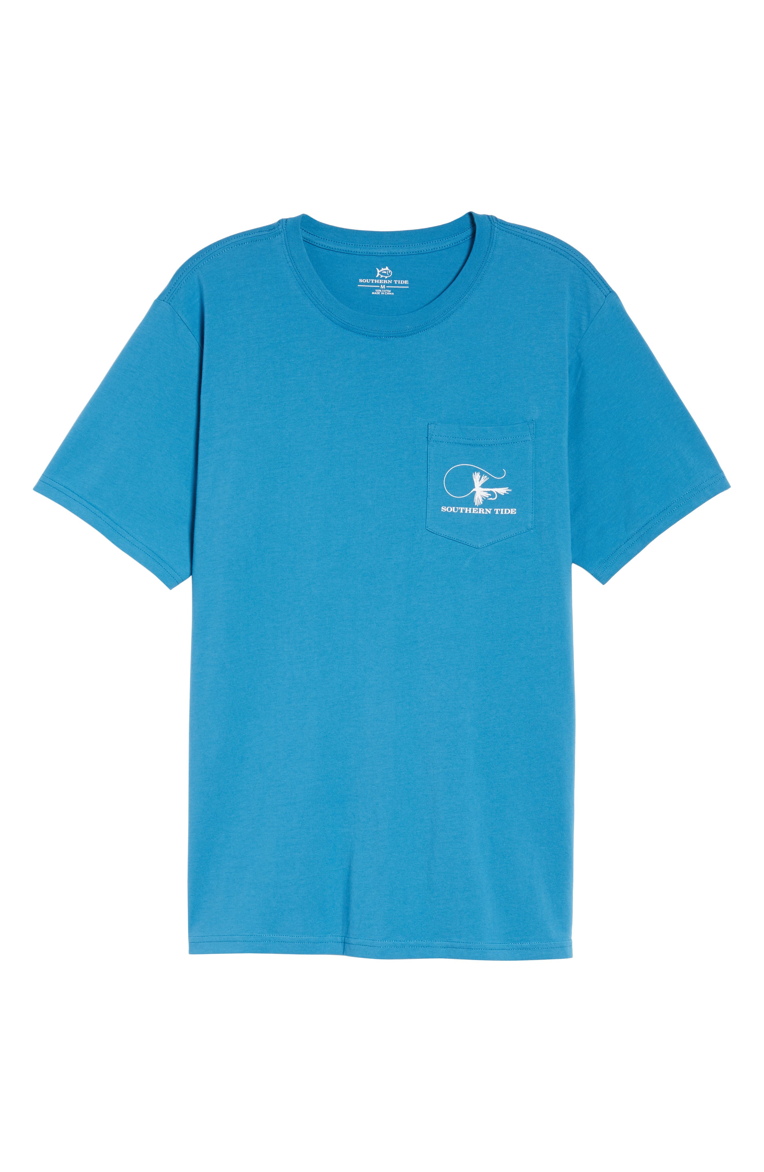 Fly Fishing Regular Fit Pocket T-Shirt,                             Alternate thumbnail 6, color,                             Deep Water