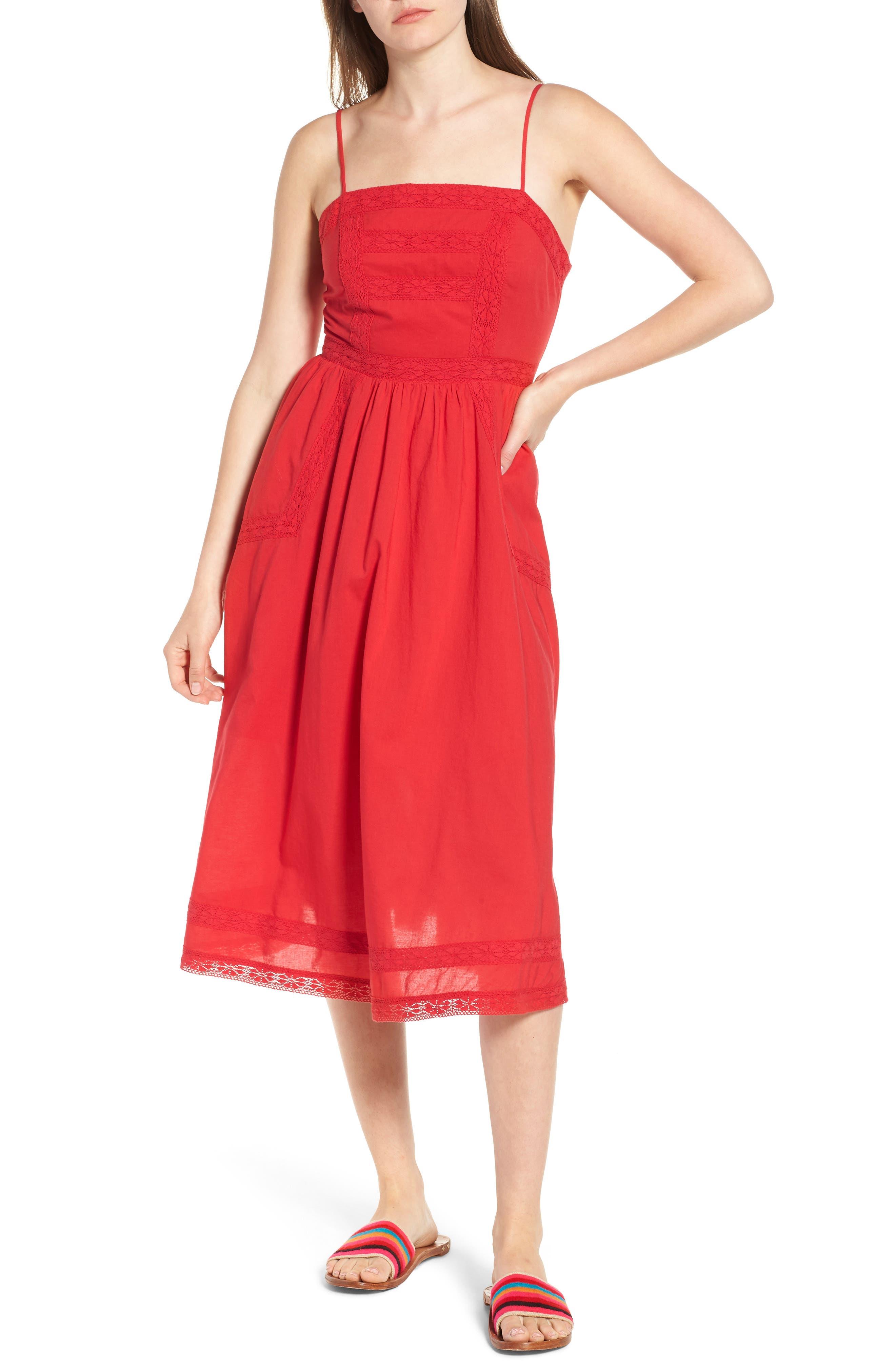 BP. Lace Trim Midi Dress