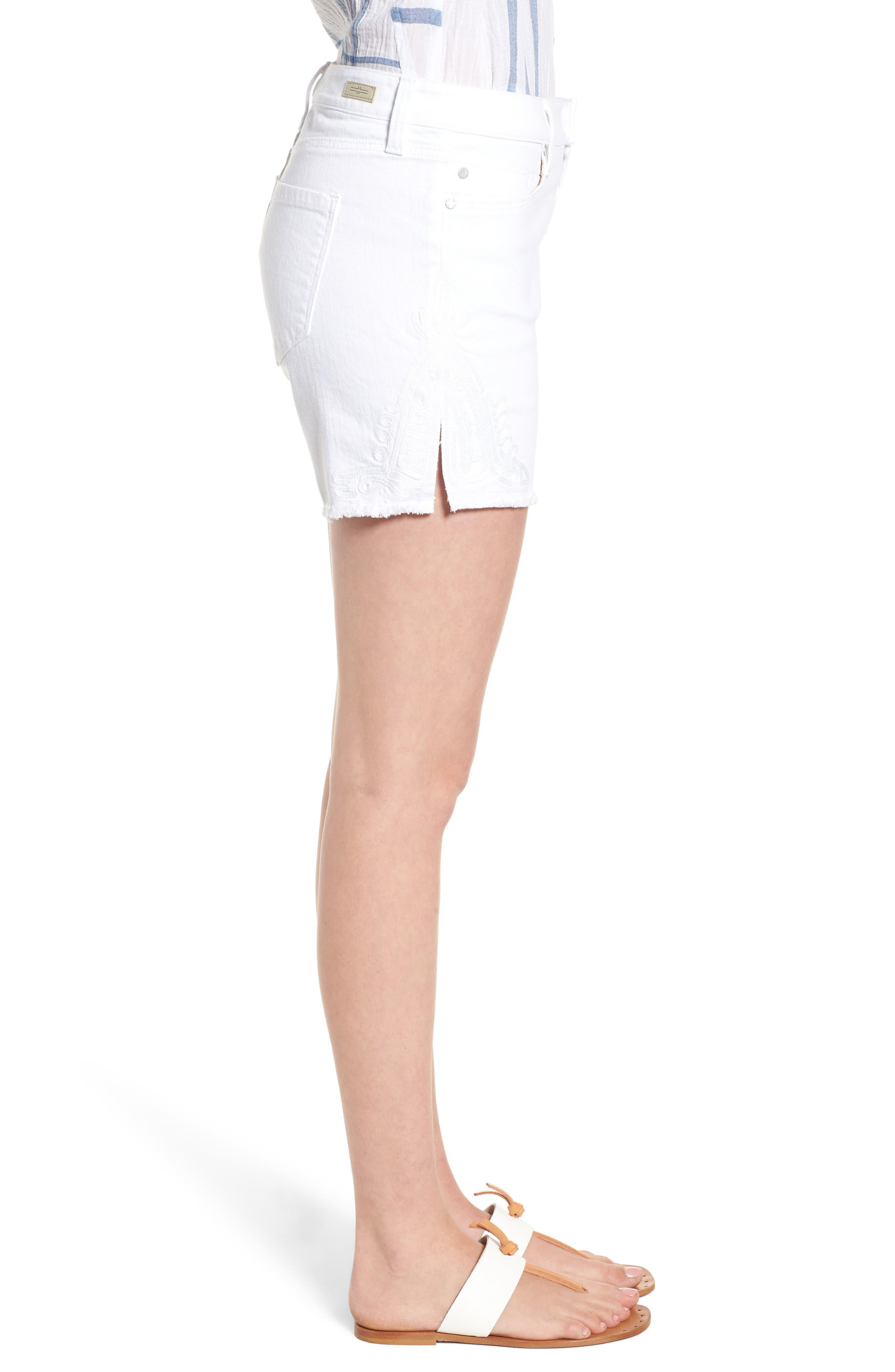 Embroidered Side Slit Shorts,                             Alternate thumbnail 3, color,                             Bright White