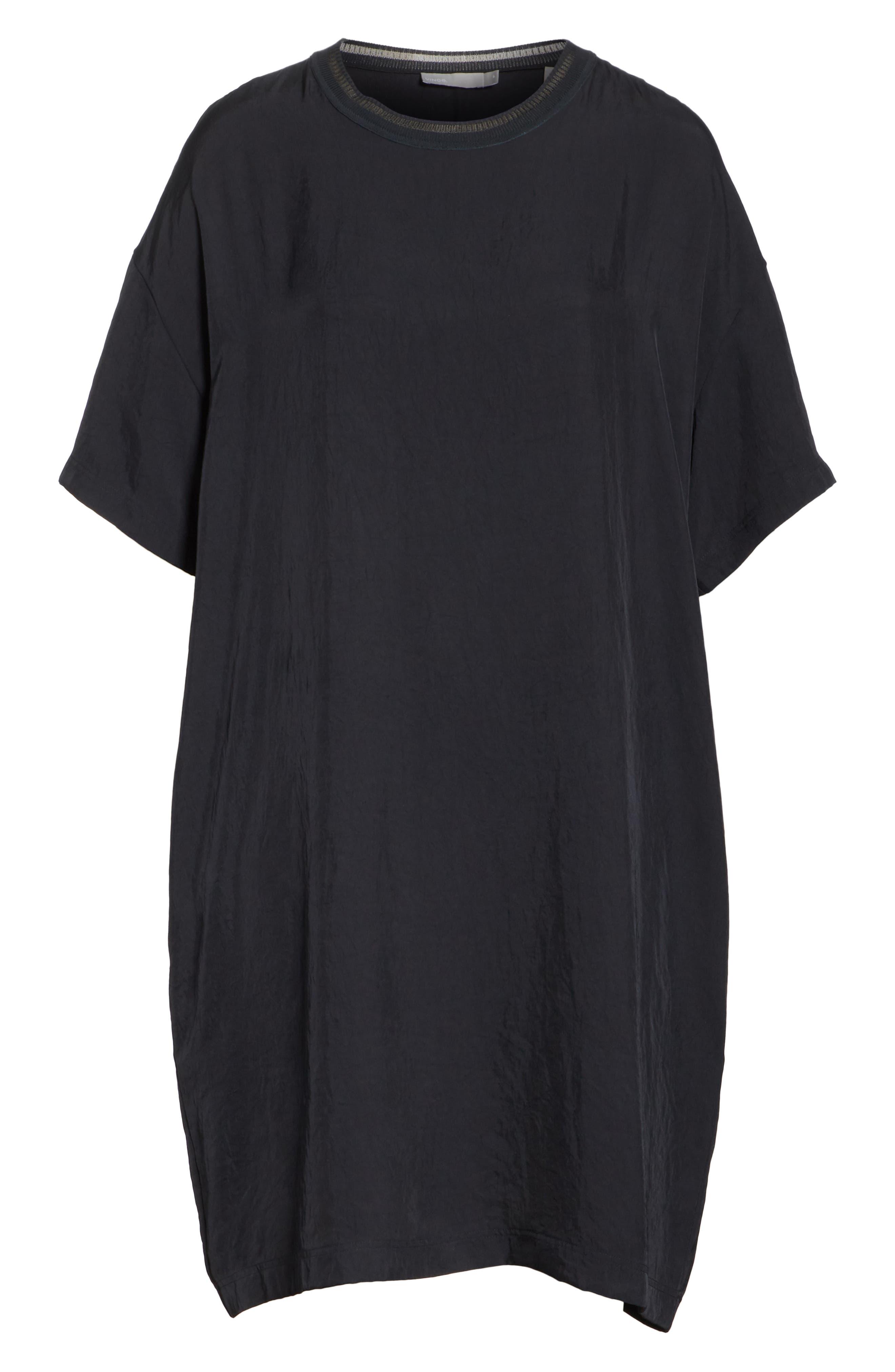 Rib Trim Dress,                             Alternate thumbnail 6, color,                             Black