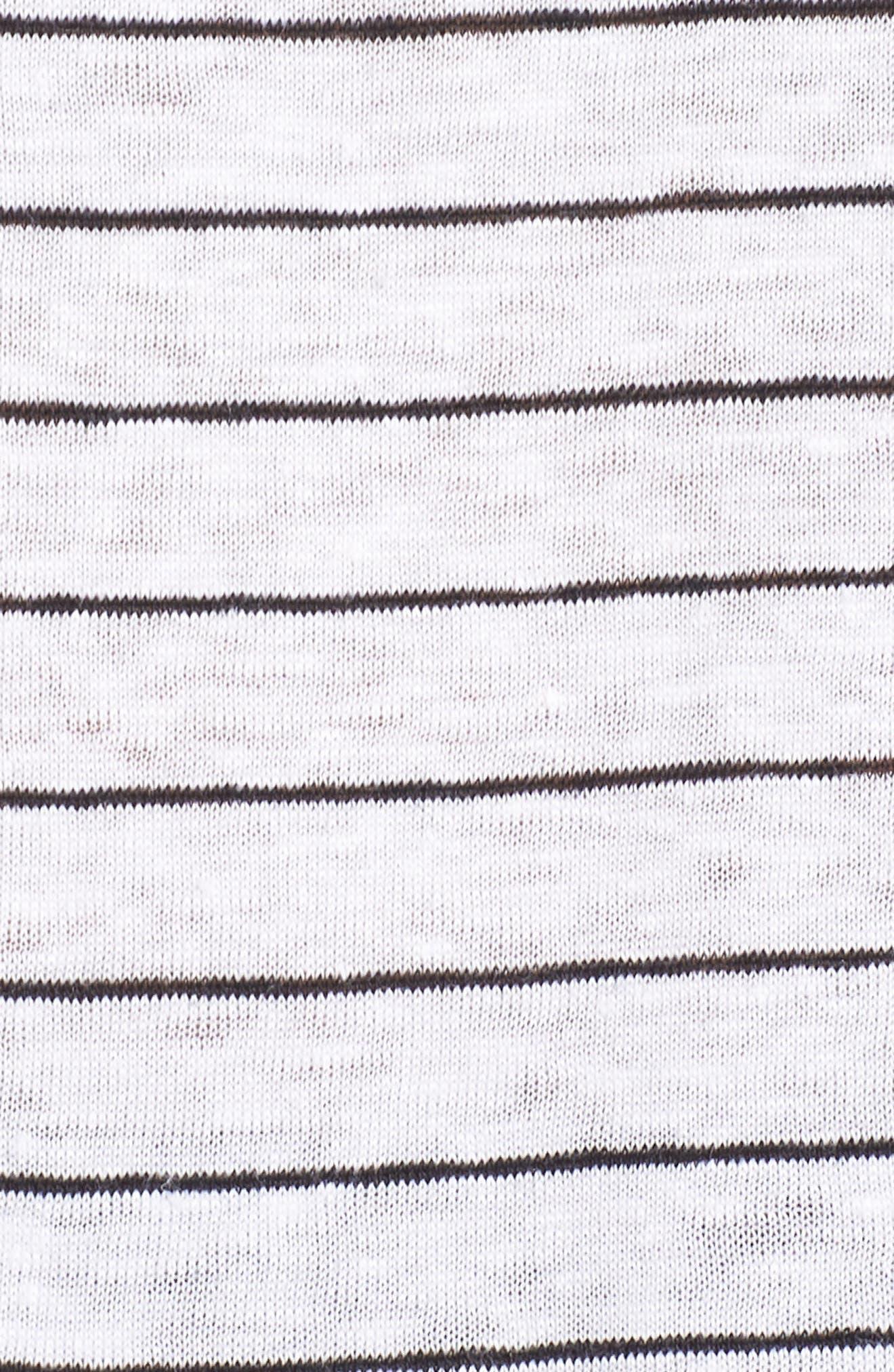 Bateau Neck Stripe Linen Top,                             Alternate thumbnail 6, color,                             White/ Black