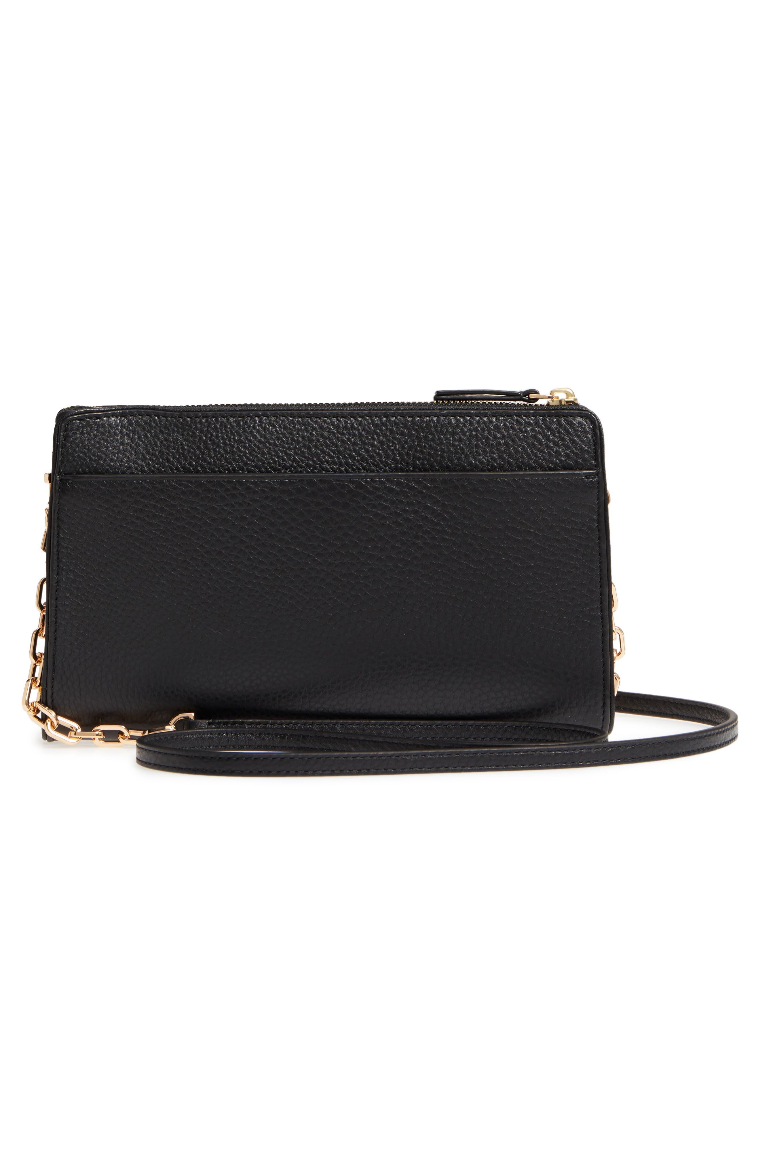 Marsden Leather Wallet Crossbody Bag,                             Alternate thumbnail 3, color,                             Black