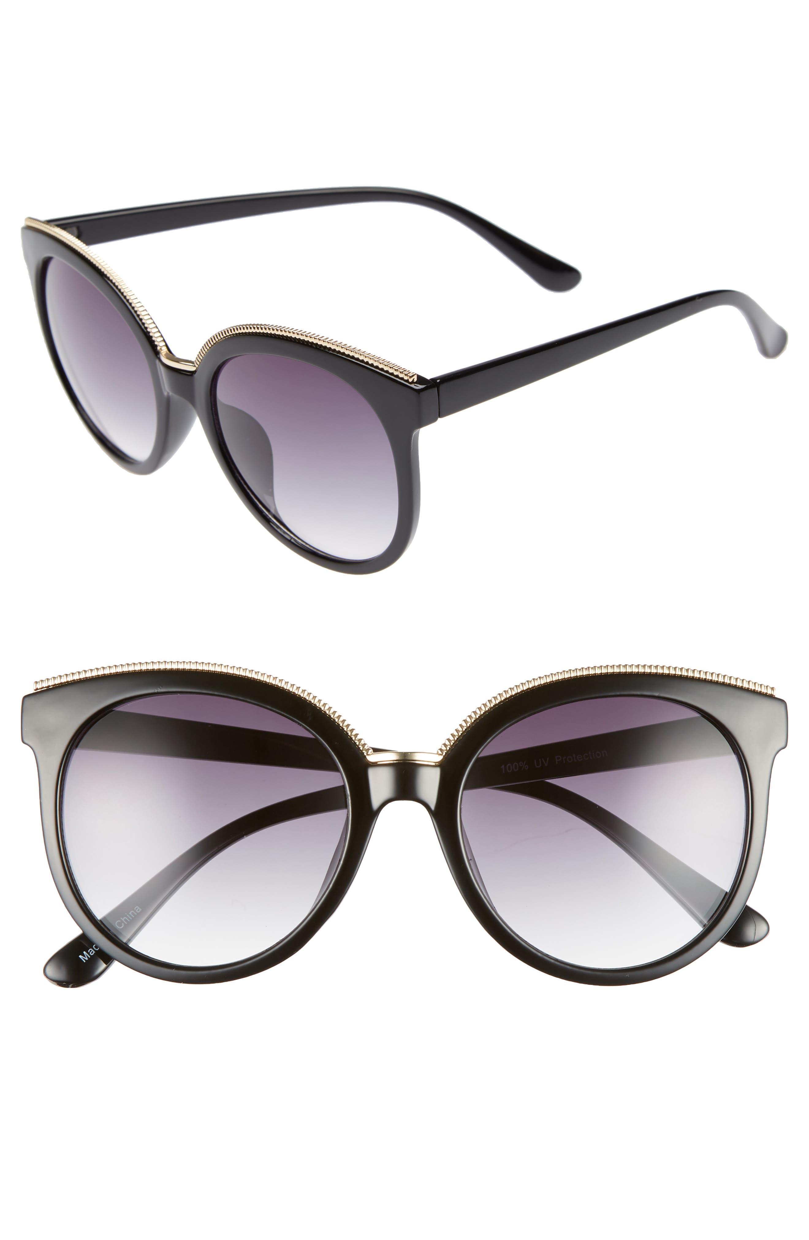 56mm Metal Trim Round Sunglasses,                         Main,                         color, Black/ Gold