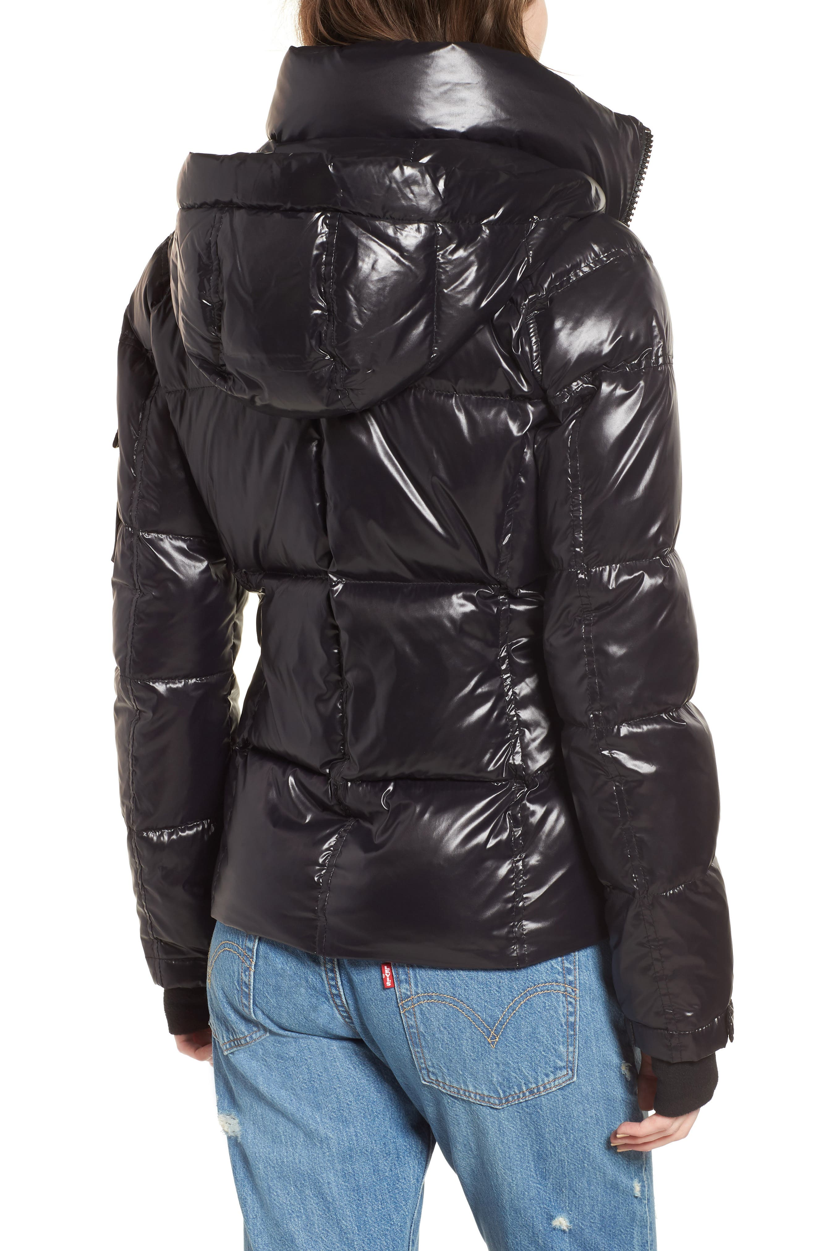Kylie Metallic Quilted Jacket with Removable Hood,                             Alternate thumbnail 2, color,                             Jet