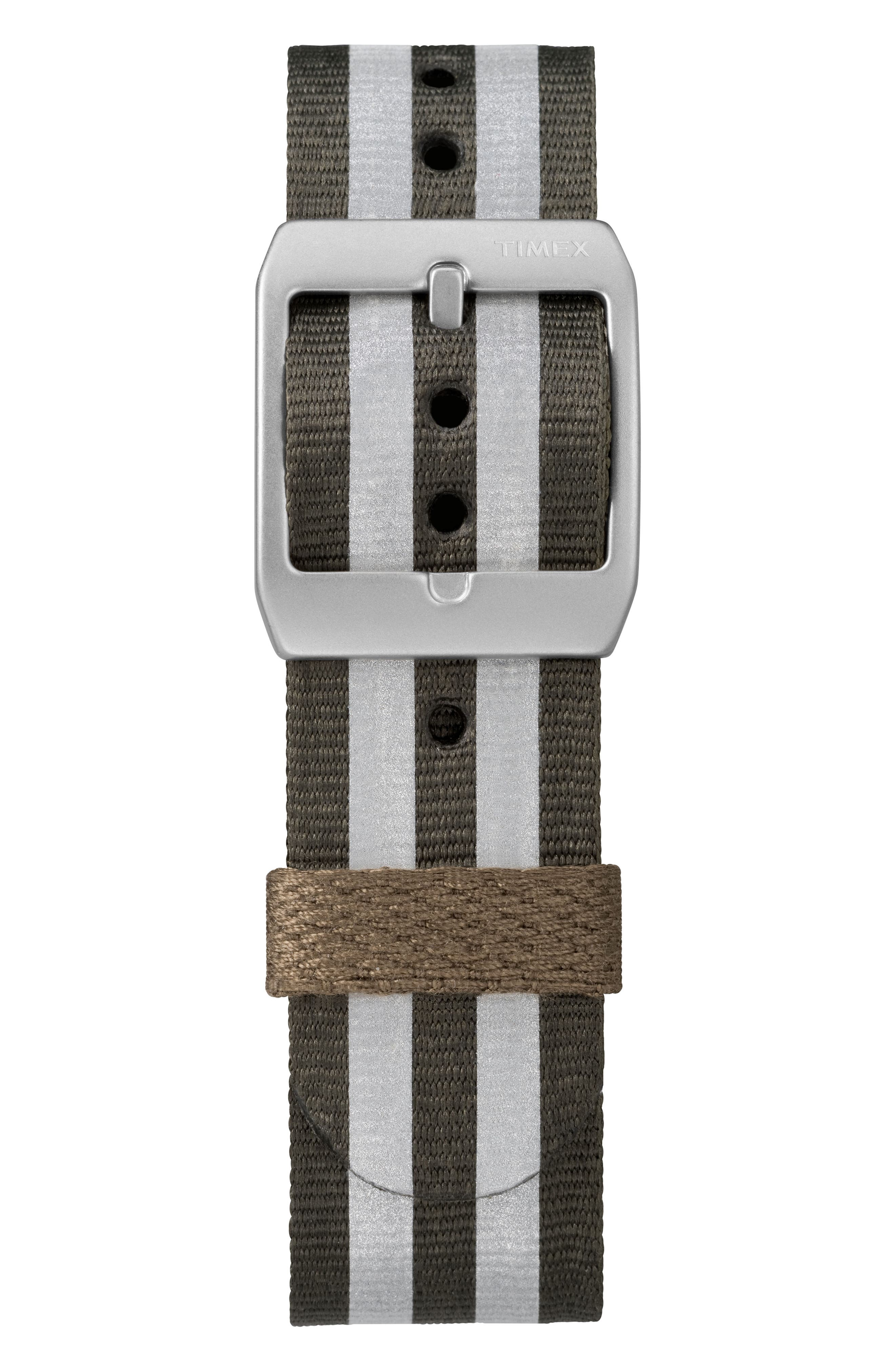 MK1 Nylon Strap Watch, 40mm,                             Alternate thumbnail 3, color,                             Olive/ White/ Silver