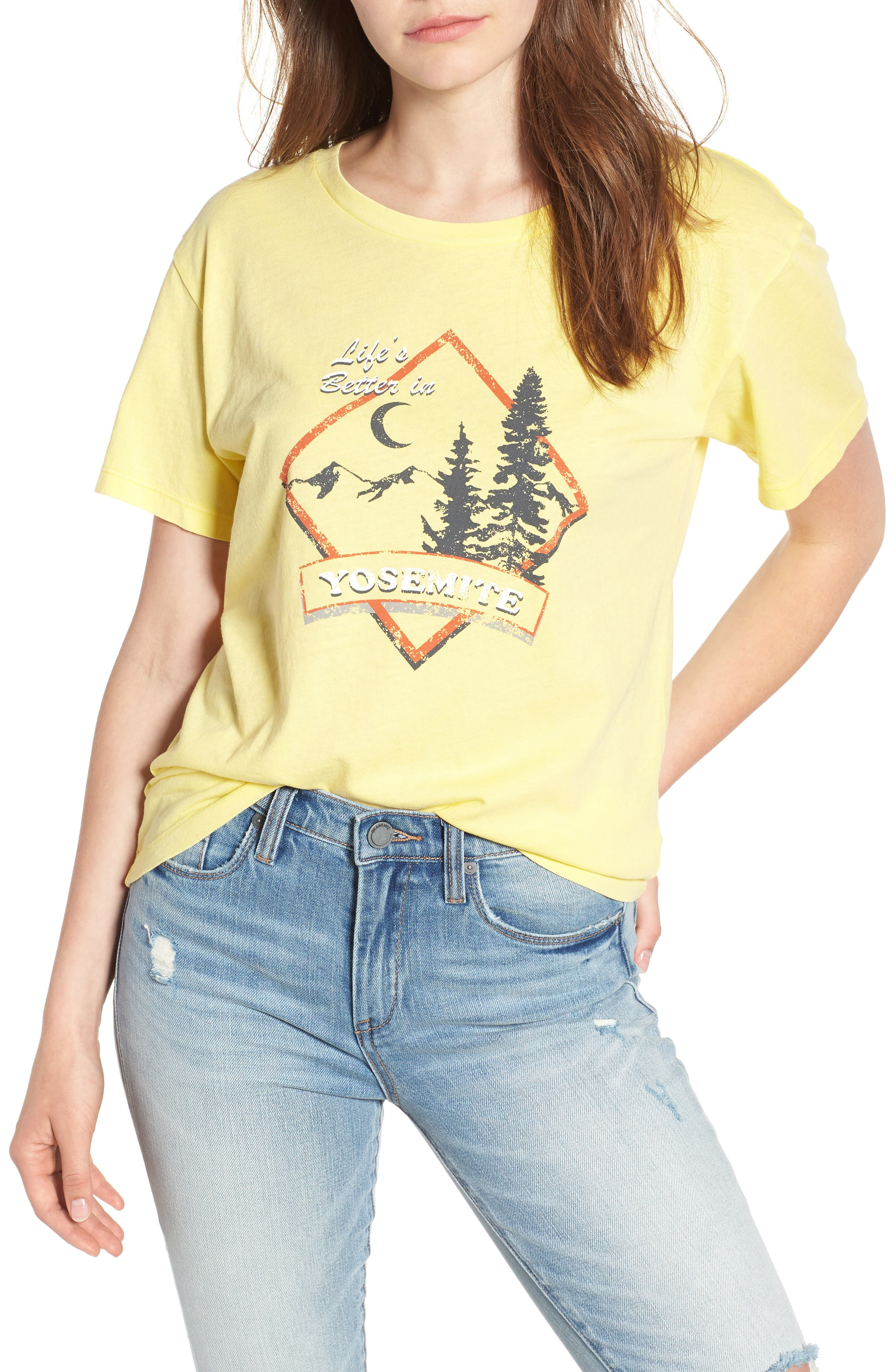 Yosemite Graphic Tee,                         Main,                         color, Washed Yellow