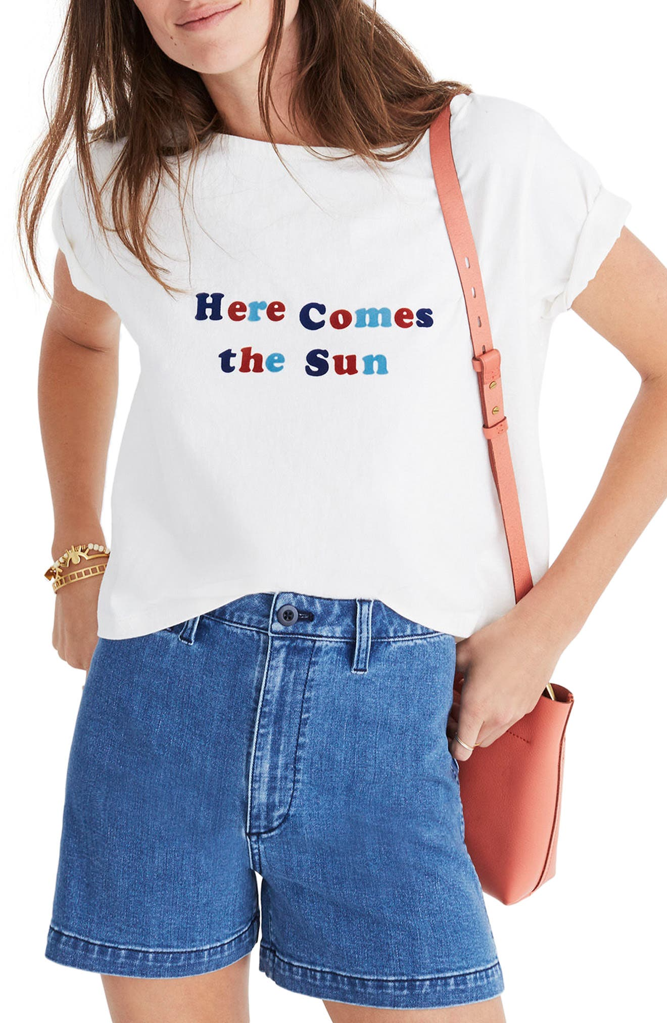 Here Comes the Sun Setlist Boxy Tee,                         Main,                         color, Vintage Lace