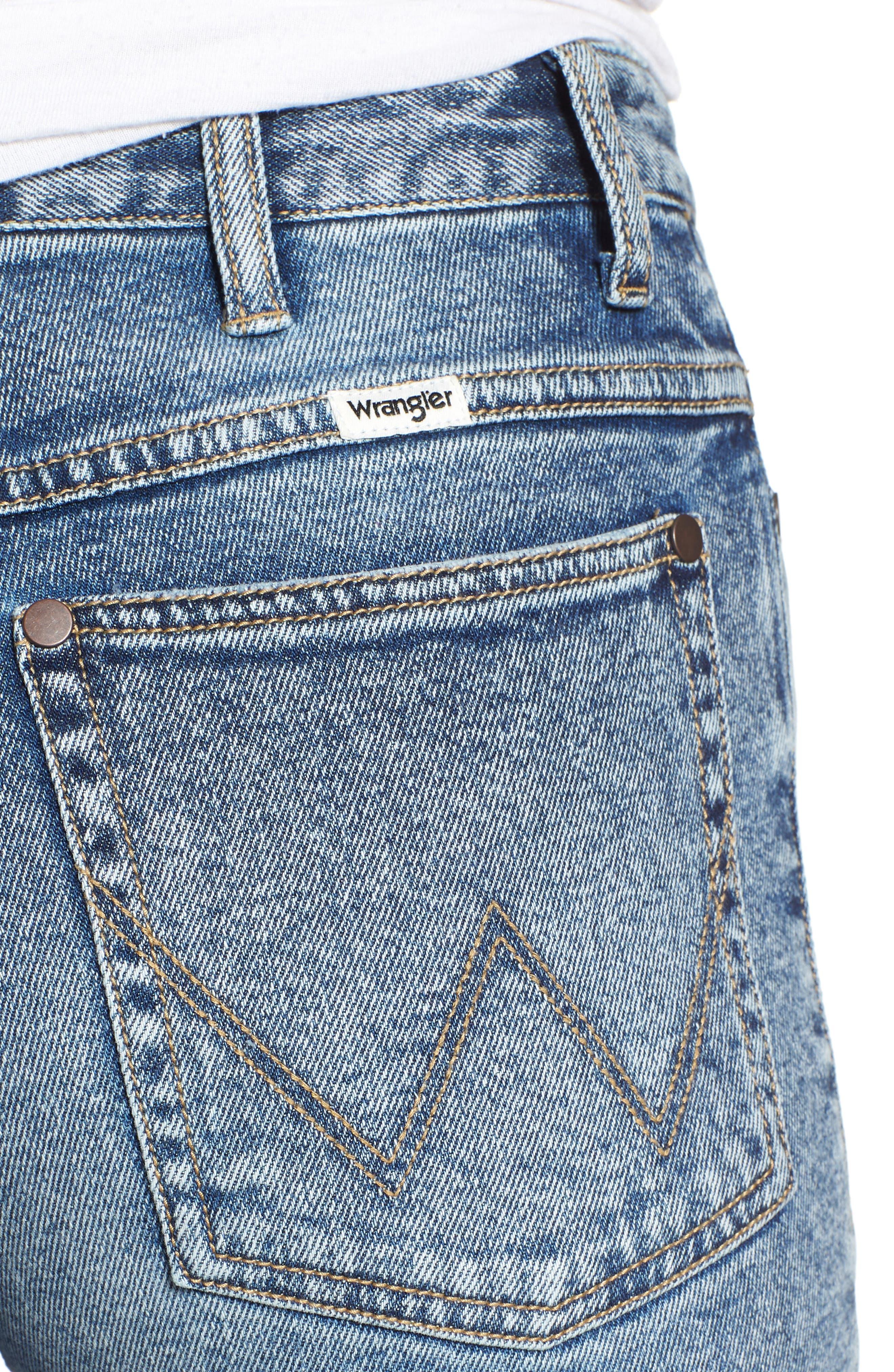 Acid Wash High Waist Crop Jeans,                             Alternate thumbnail 4, color,                             Dark Acid