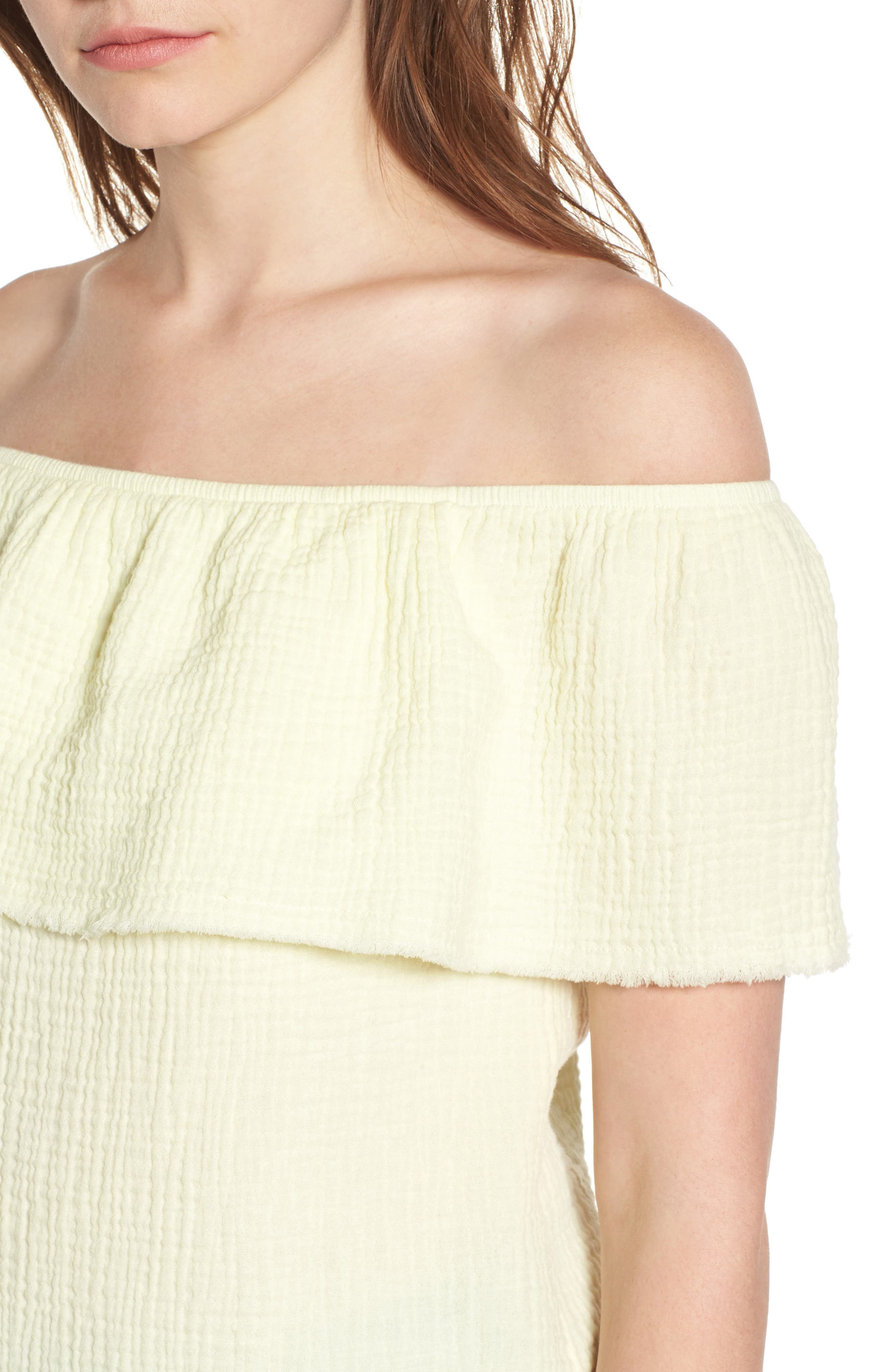 Ruffle Off the Shoulder Top,                             Alternate thumbnail 4, color,                             Yellow