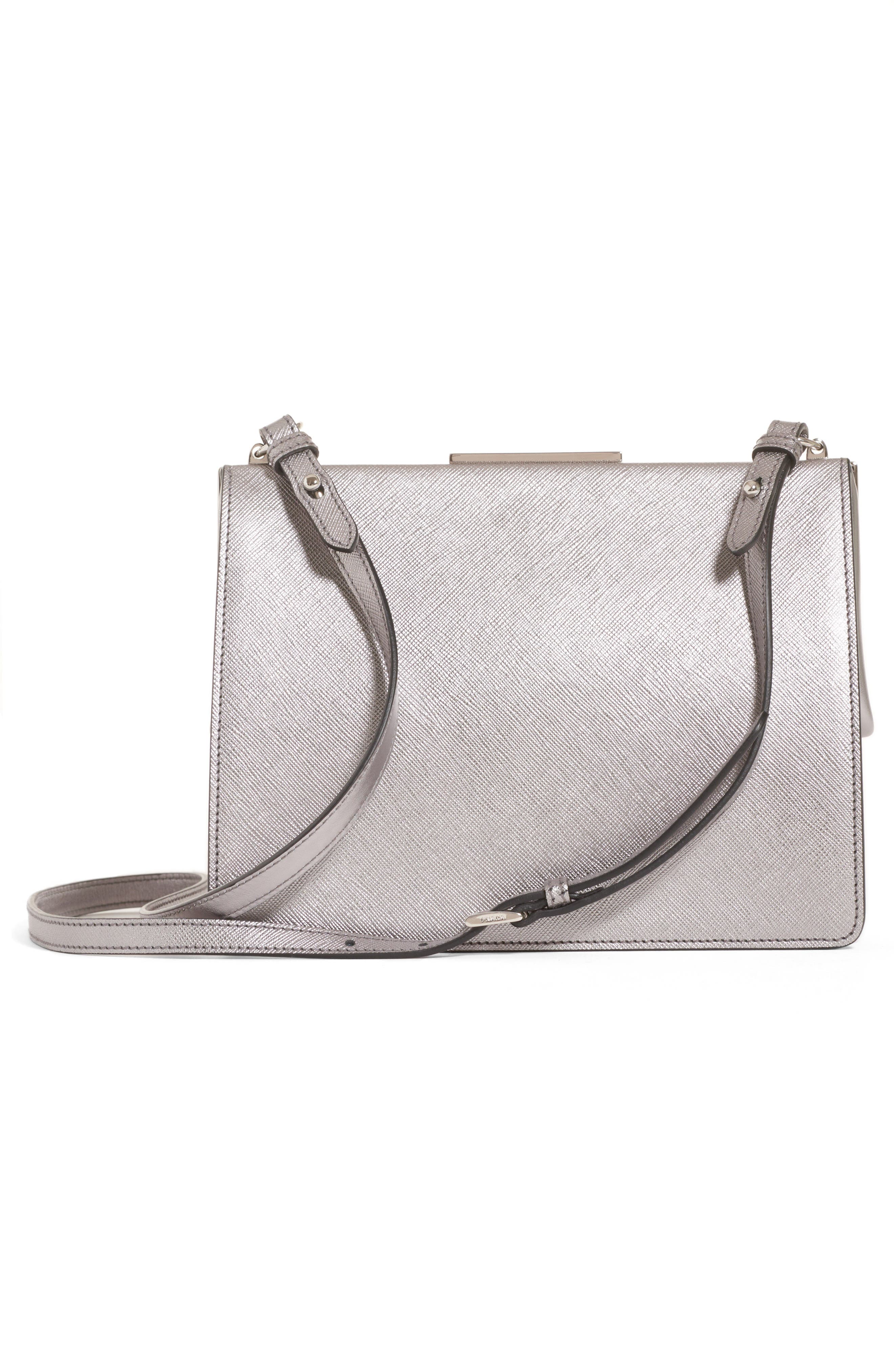 Small Frame Saffiano & City Calfskin Leather Shoulder Bag,                             Alternate thumbnail 2, color,                             Cromo