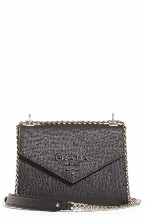 bff22b81068578 Prada Monochrome Saffiano Leather Shoulder Bag