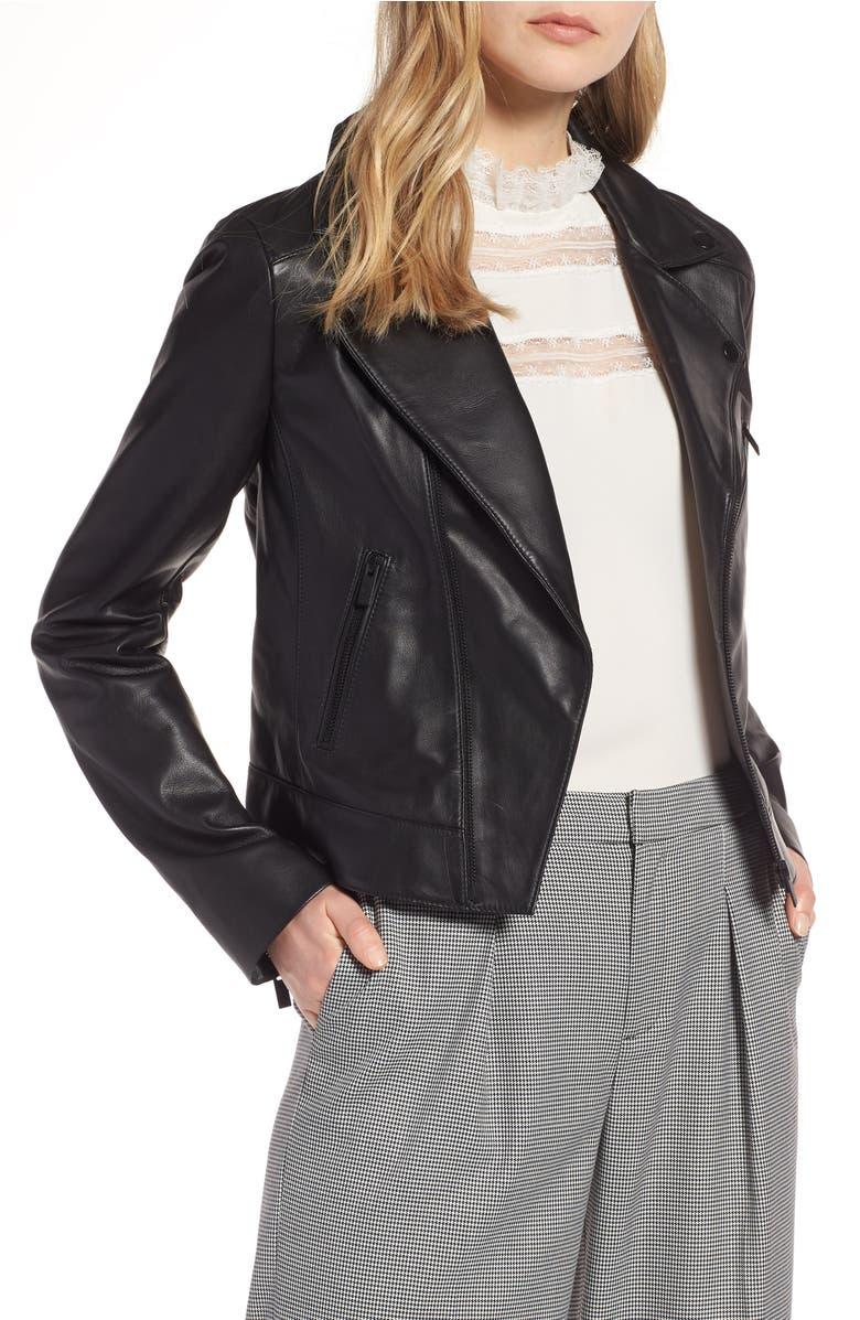 Leather Moto Jacket,                         Main,                         color, Black