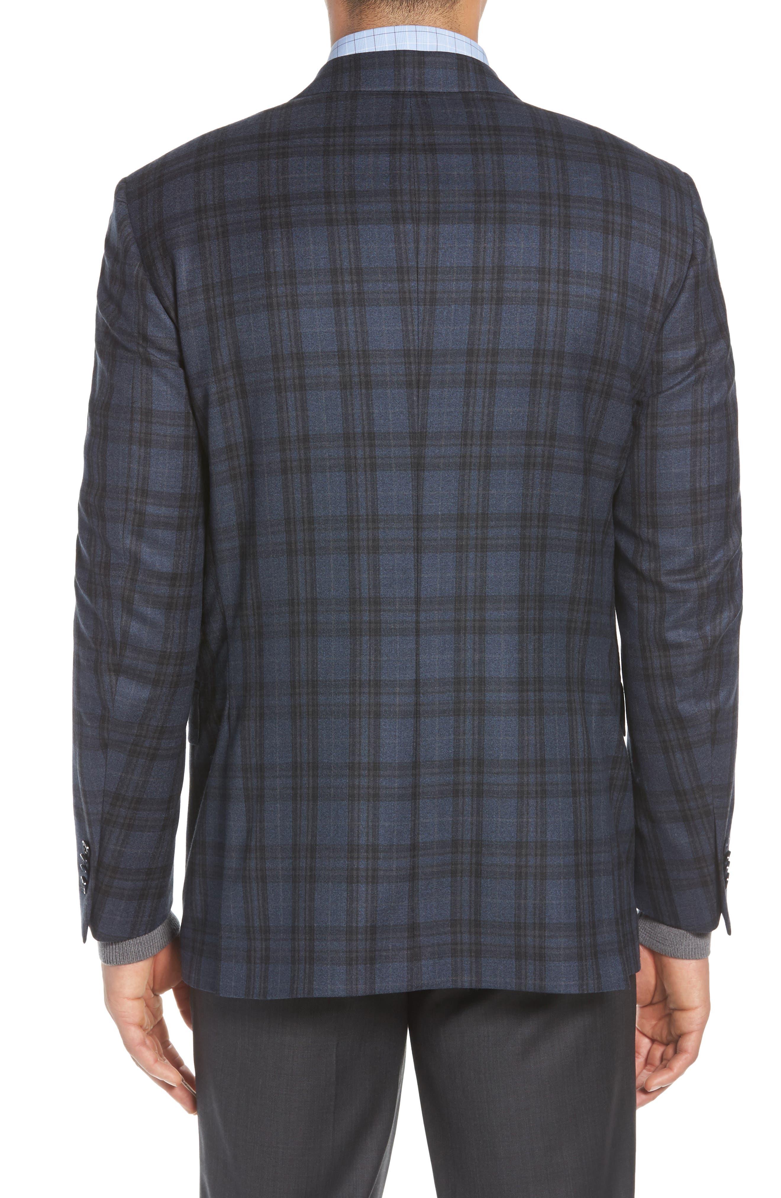 Classic Fit Plaid Wool Sport Coat,                             Alternate thumbnail 2, color,                             Blue