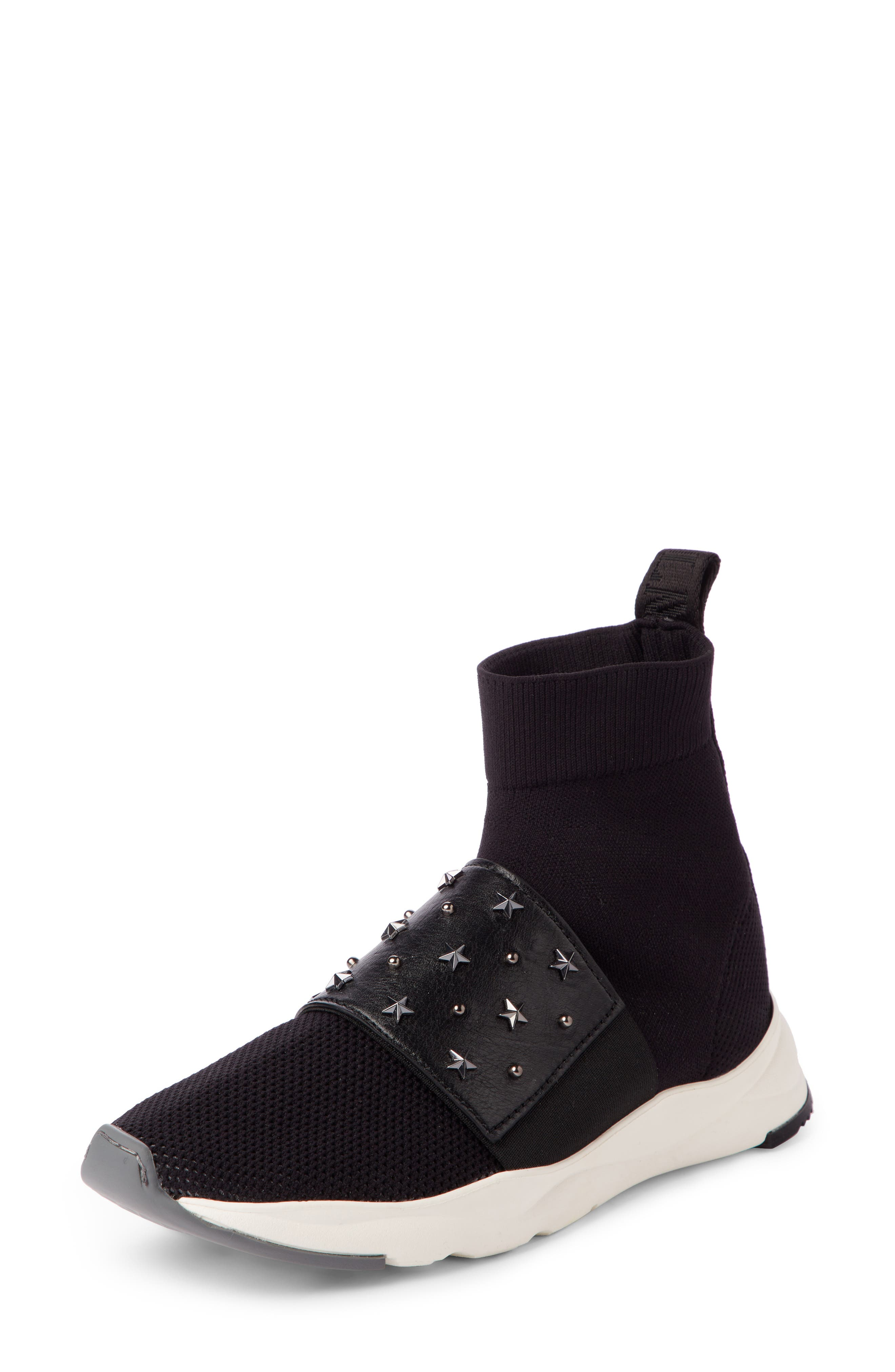 Cameron Studded Sock Sneaker,                         Main,                         color, Black