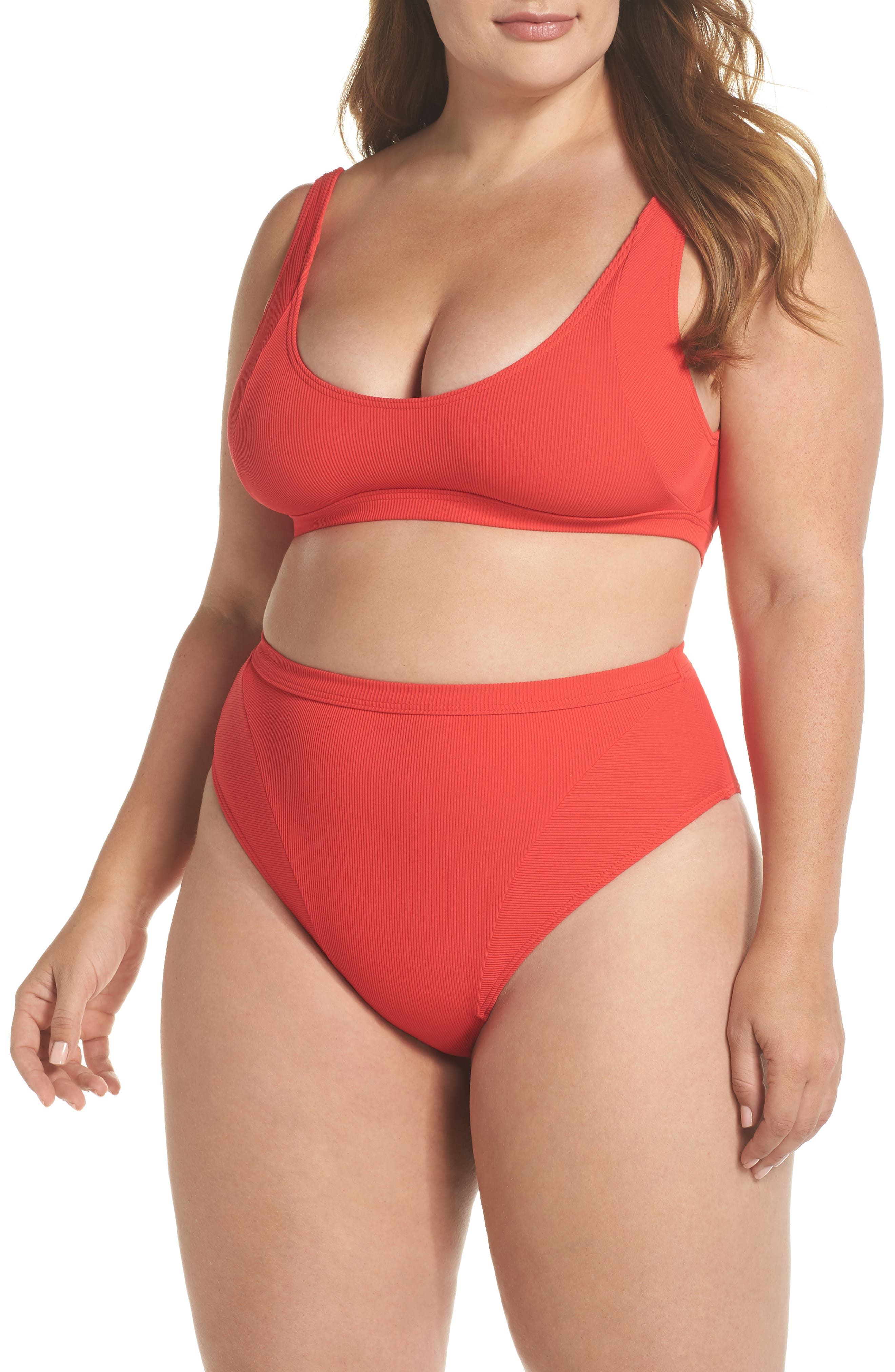 Ribbed Swim Bottoms,                             Alternate thumbnail 5, color,                             Red