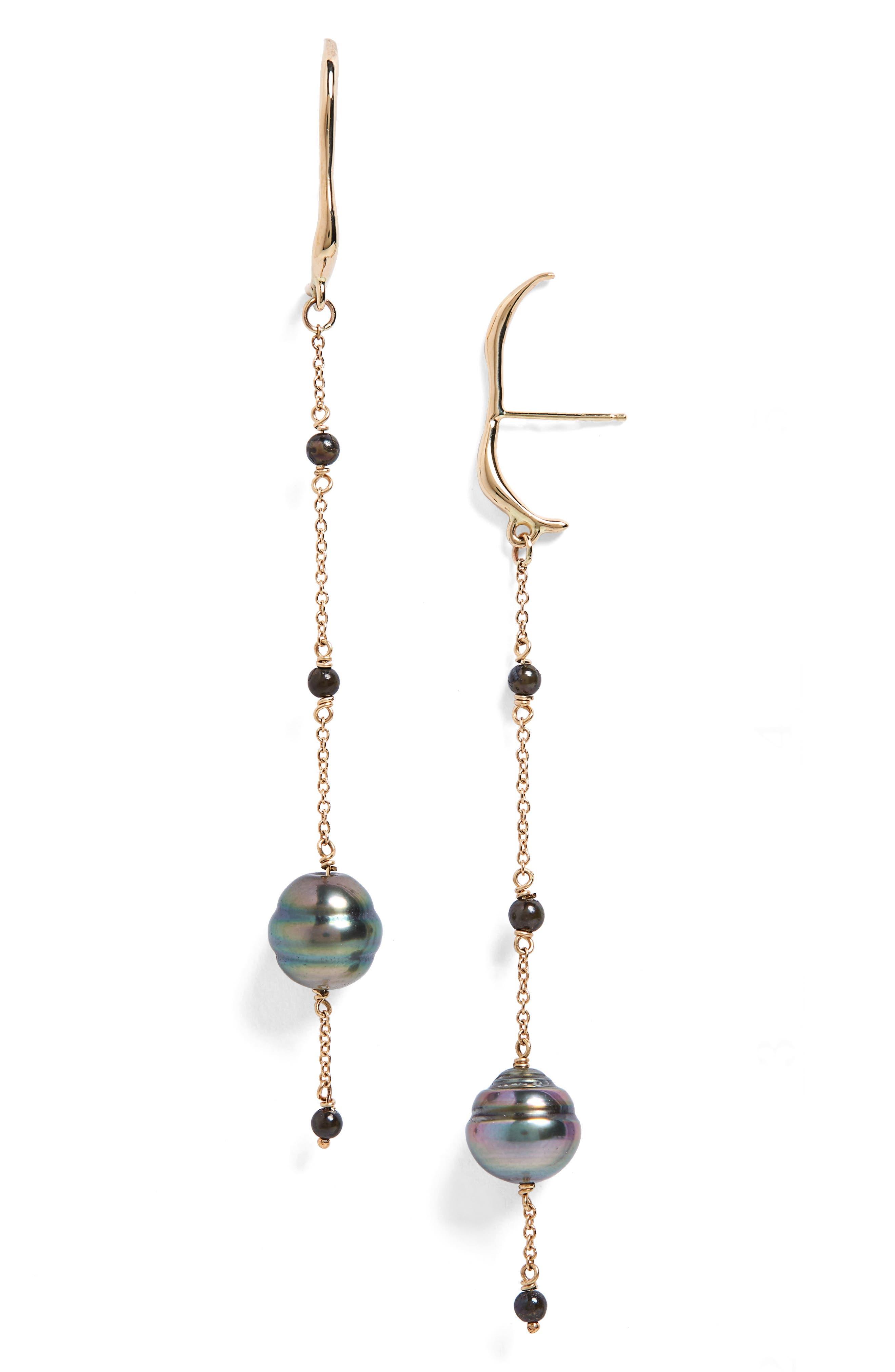 Aura Cultured Pearl Drop Earrings,                             Main thumbnail 1, color,                             Gold/ Black Pearl