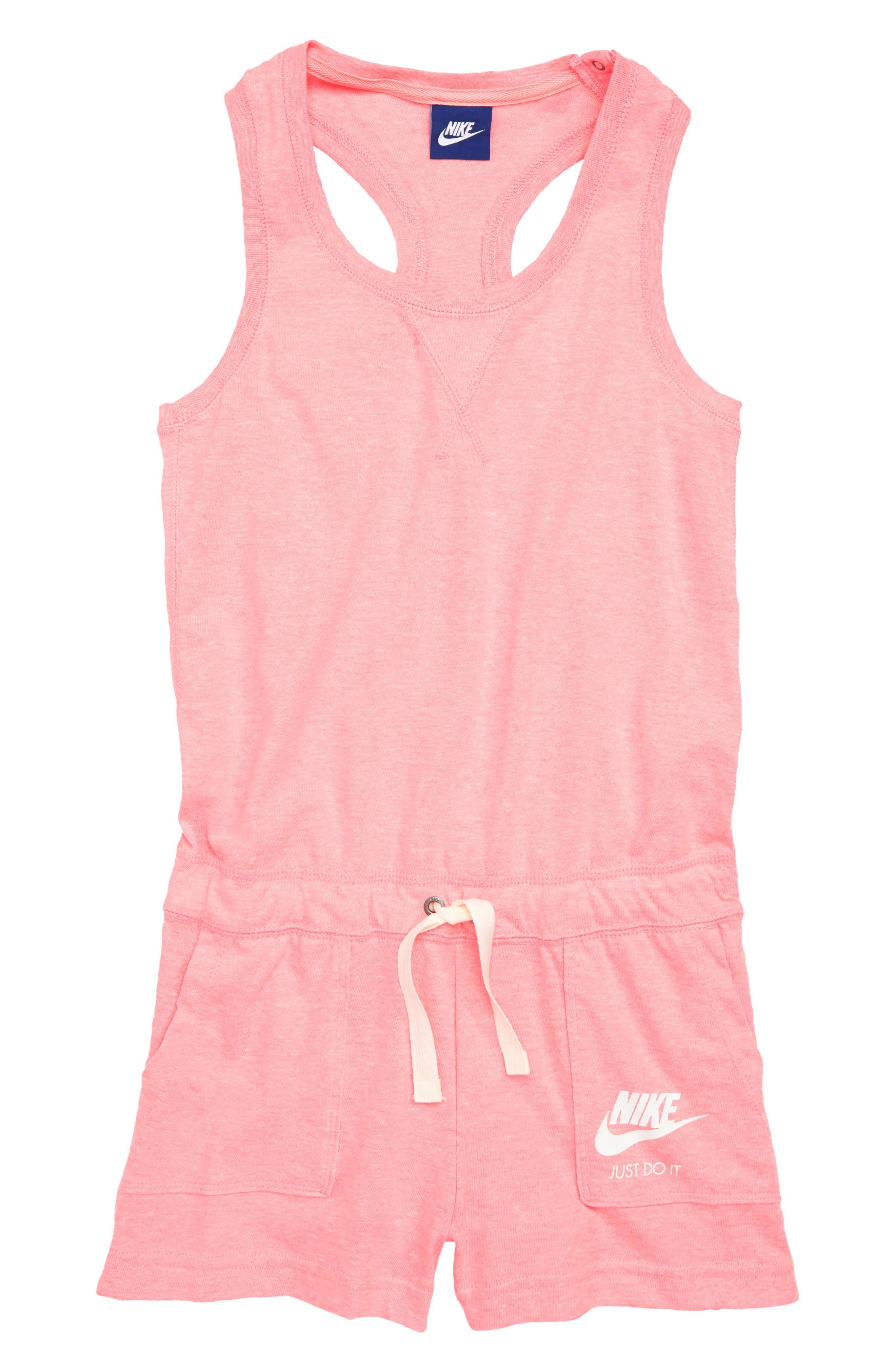 Racerback Knit Romper,                         Main,                         color, Pink