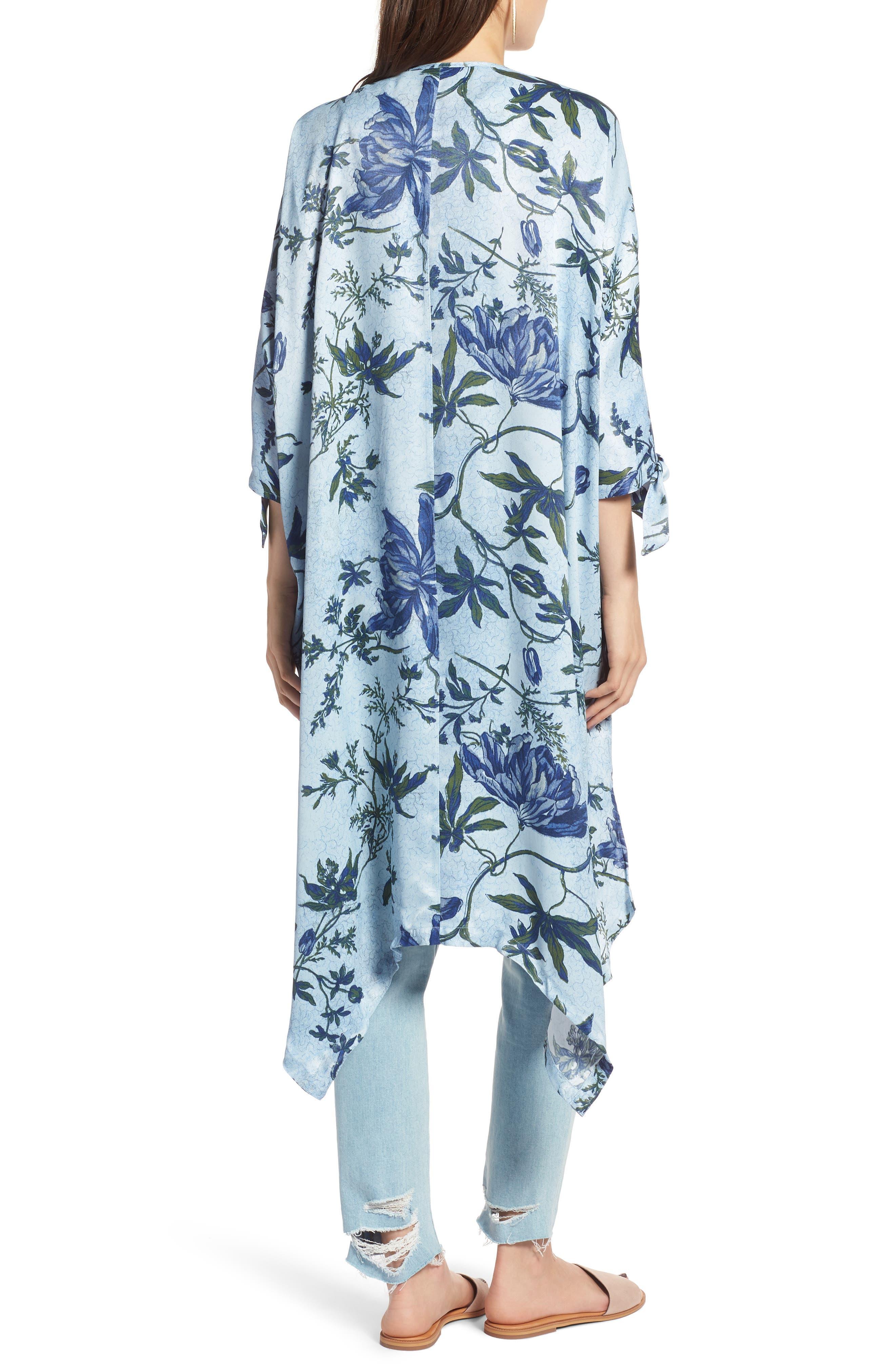 High/Low Kimono,                             Alternate thumbnail 2, color,                             Blue Trailing Vines Floral