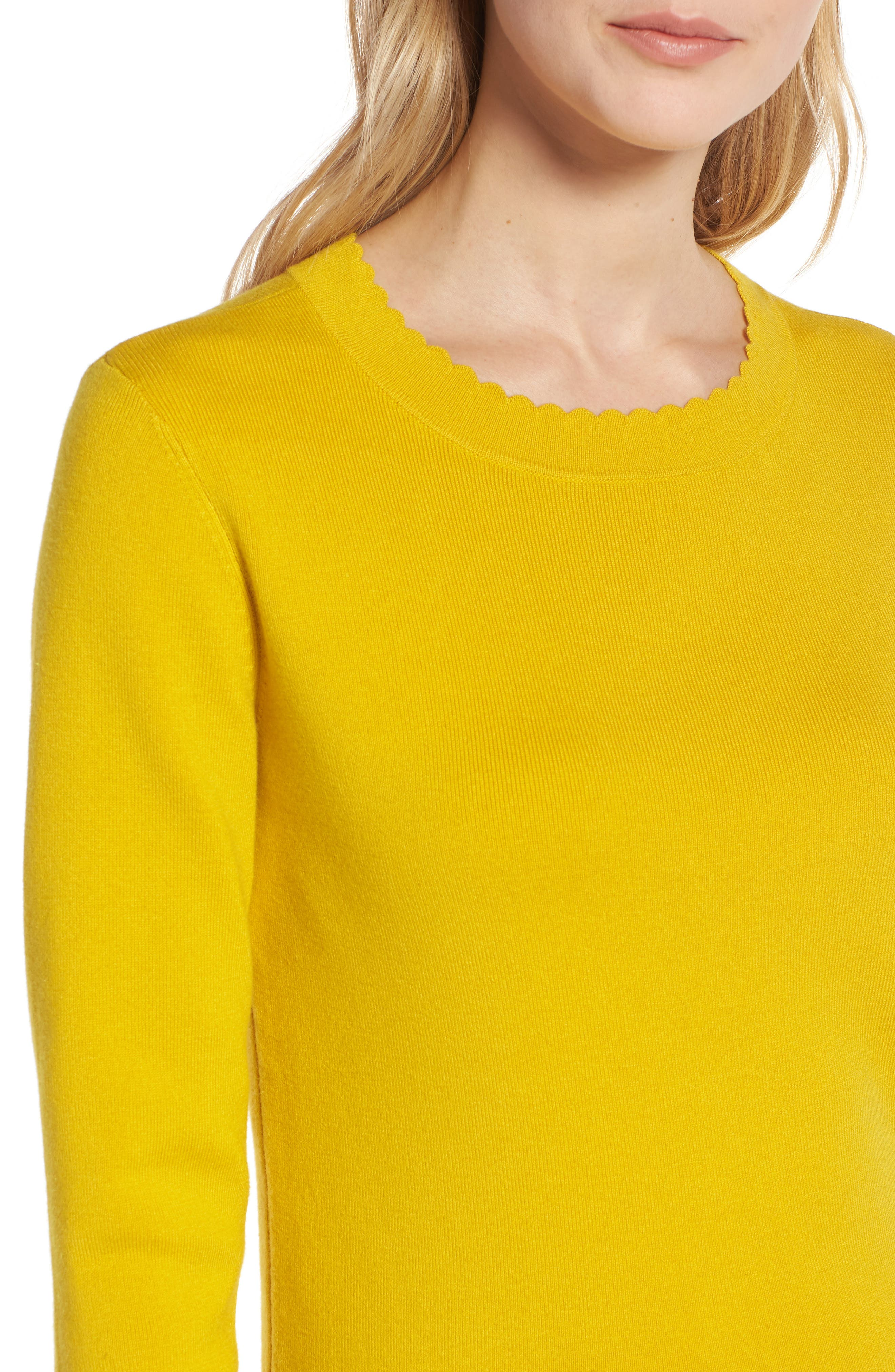 Scallop Trim Sweater,                             Alternate thumbnail 4, color,                             Yellow Sulphur
