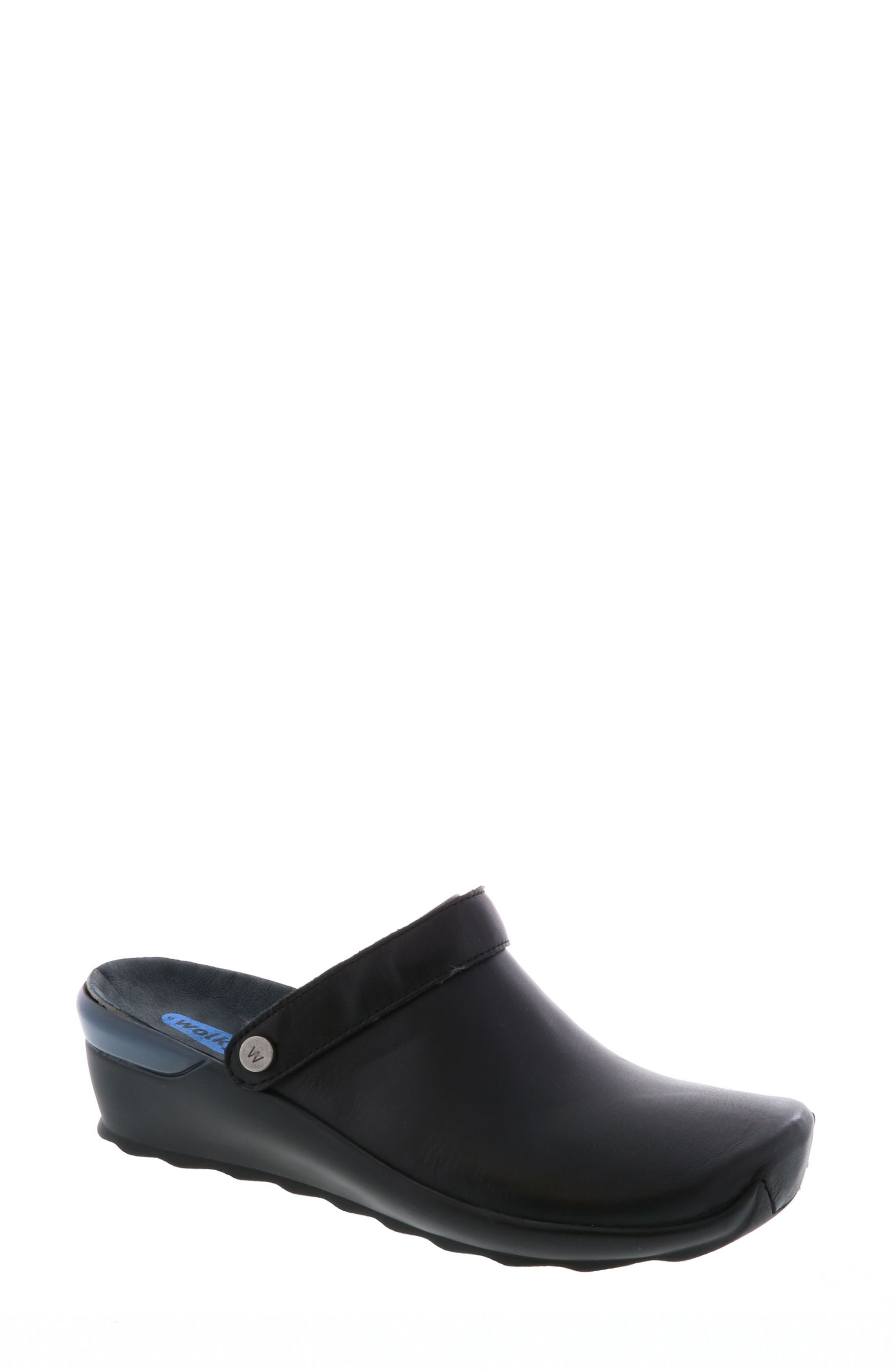 Bi Clog,                             Main thumbnail 1, color,                             Black Velvet Leather