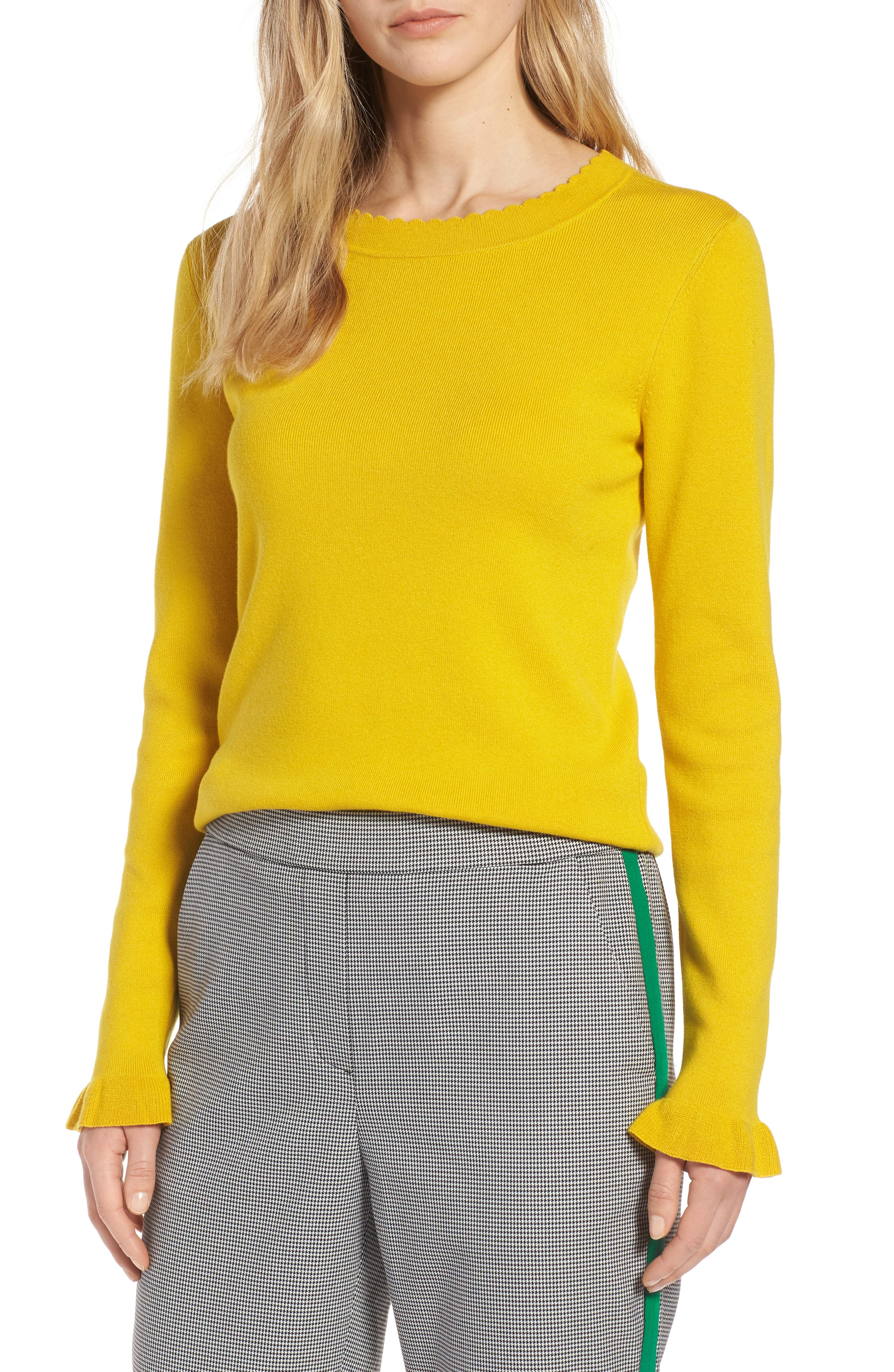 Scallop Trim Sweater,                             Main thumbnail 1, color,                             Yellow Sulphur