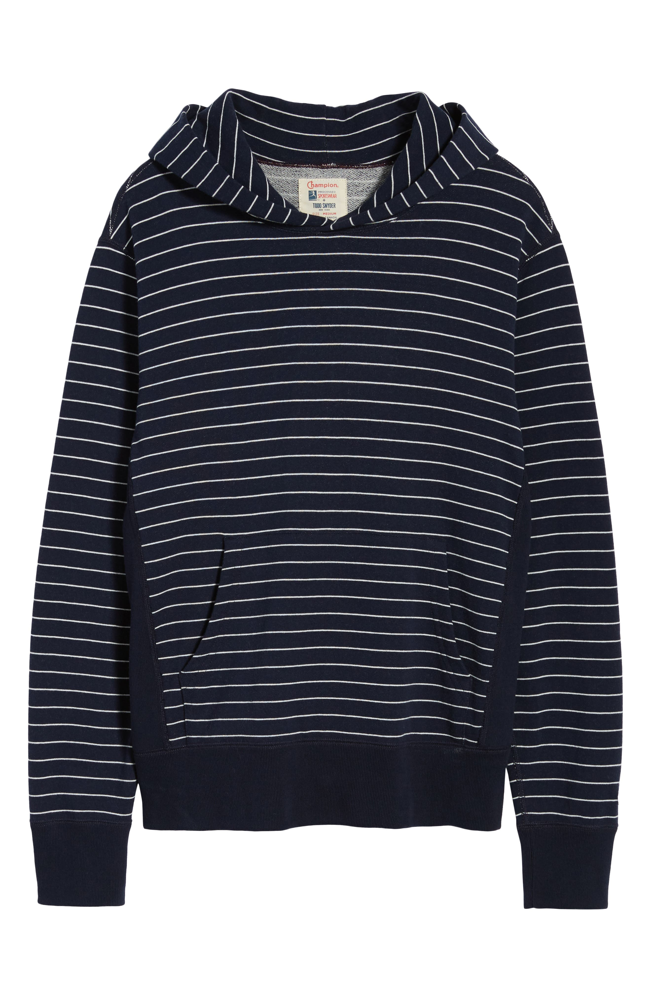+ Champion Stripe Pullover Hoodie,                             Alternate thumbnail 6, color,                             Navy