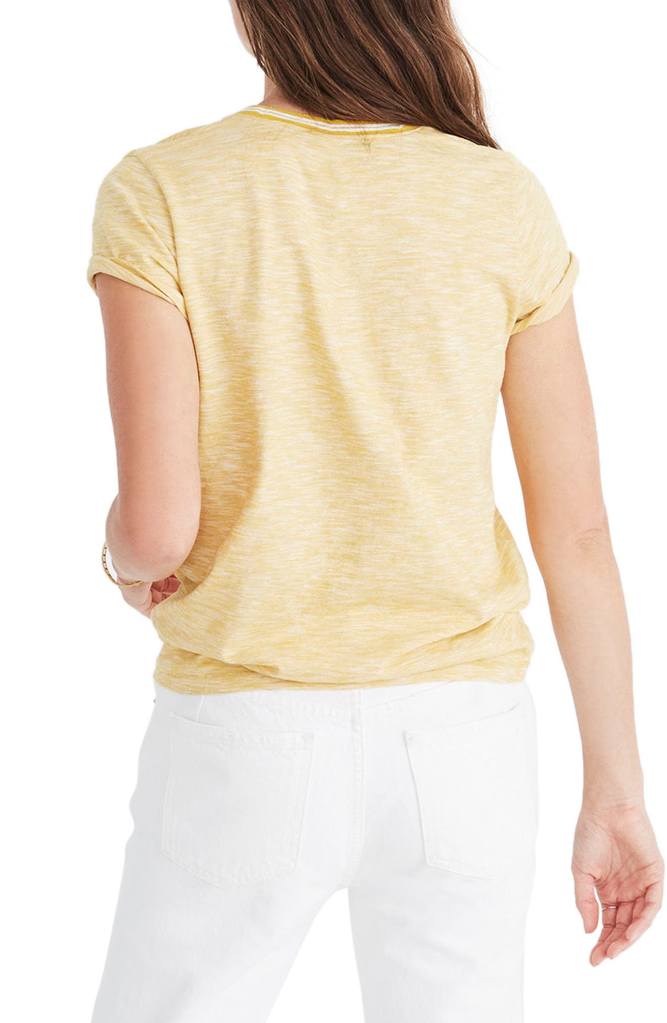 Whisper Cotton Stripe Ringer Tee,                             Alternate thumbnail 2, color,                             Golden Apple