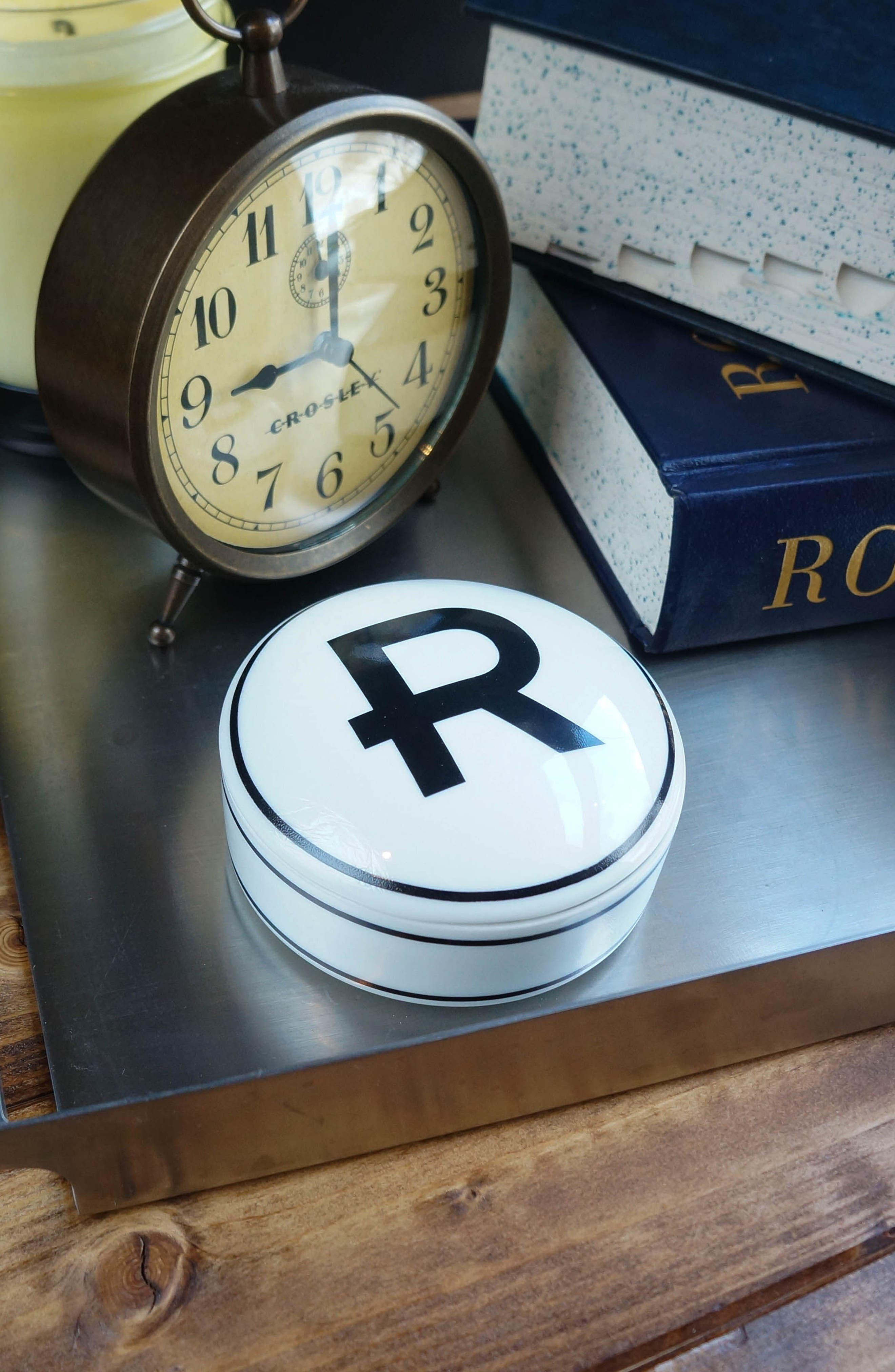 Porcelain Initial Keepsake Box,                             Alternate thumbnail 3, color,