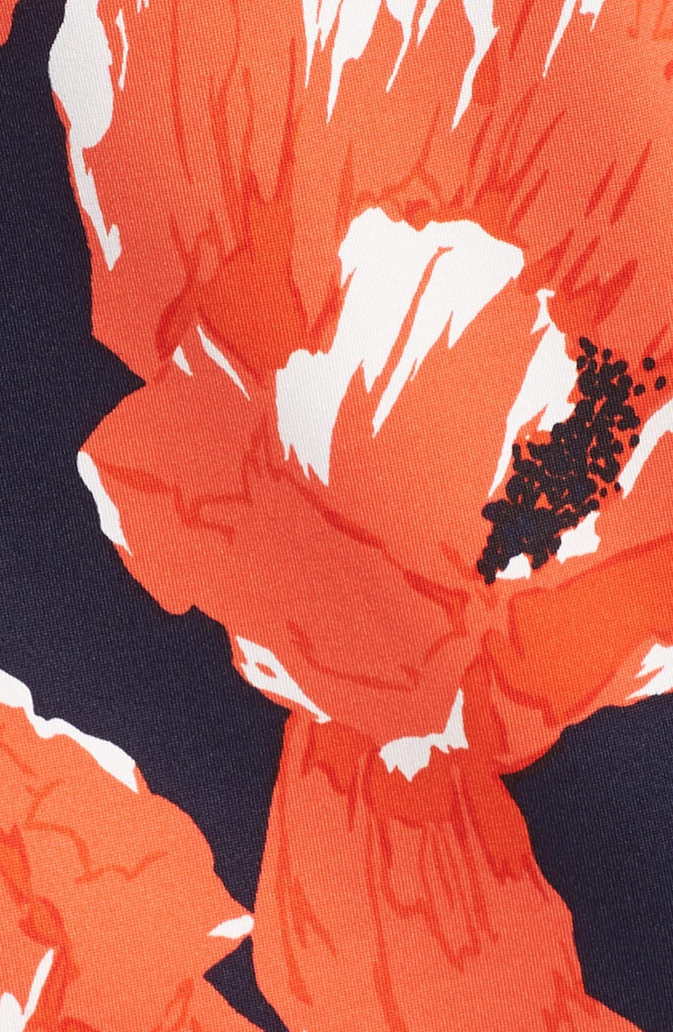Lexi Poppy Cold Shoulder Shift Dress,                             Alternate thumbnail 6, color,                             Indigo/ Red Ginger