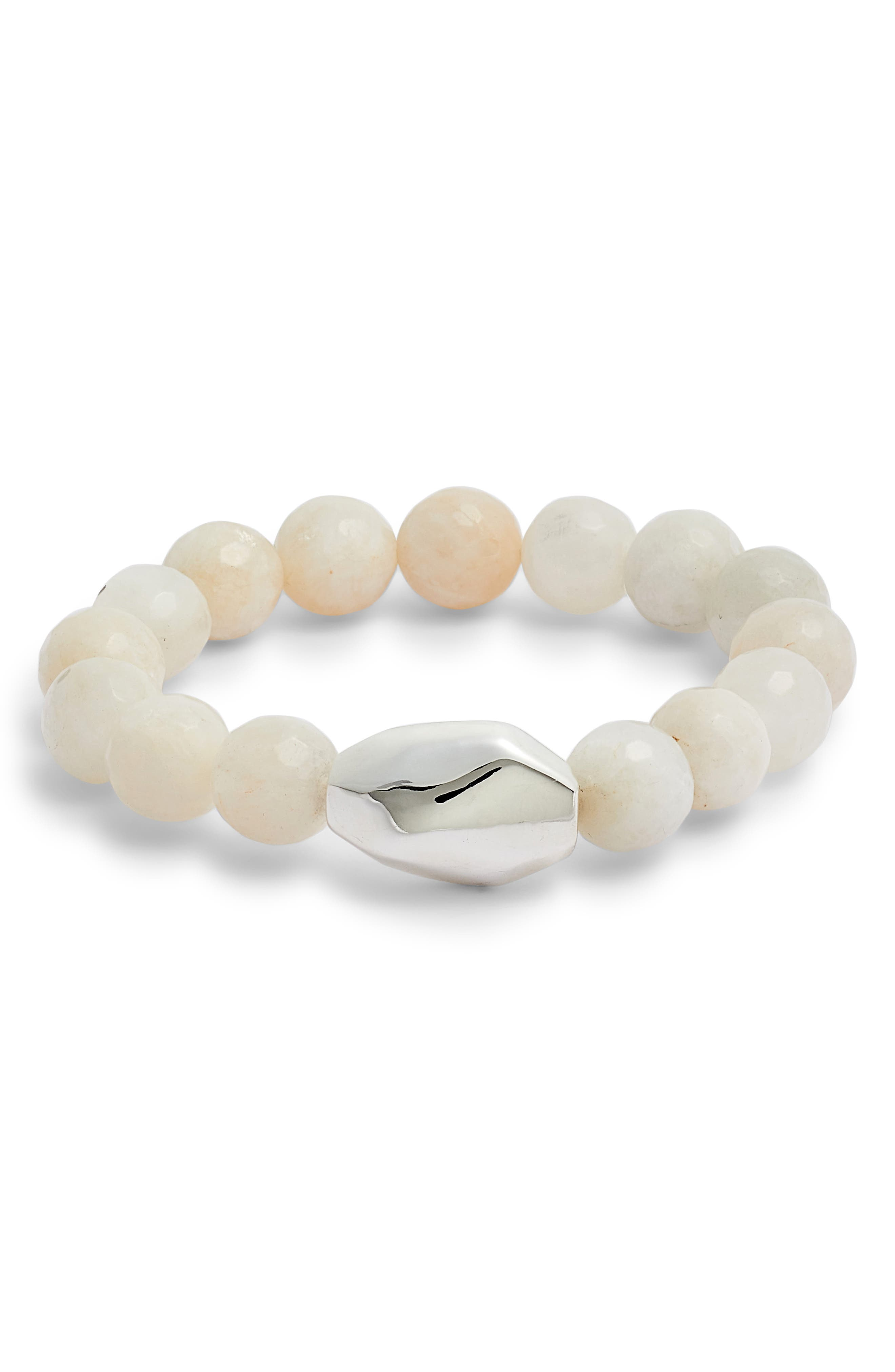 White Moonstone Stretch Bracelet,                         Main,                         color, White W/ Silver