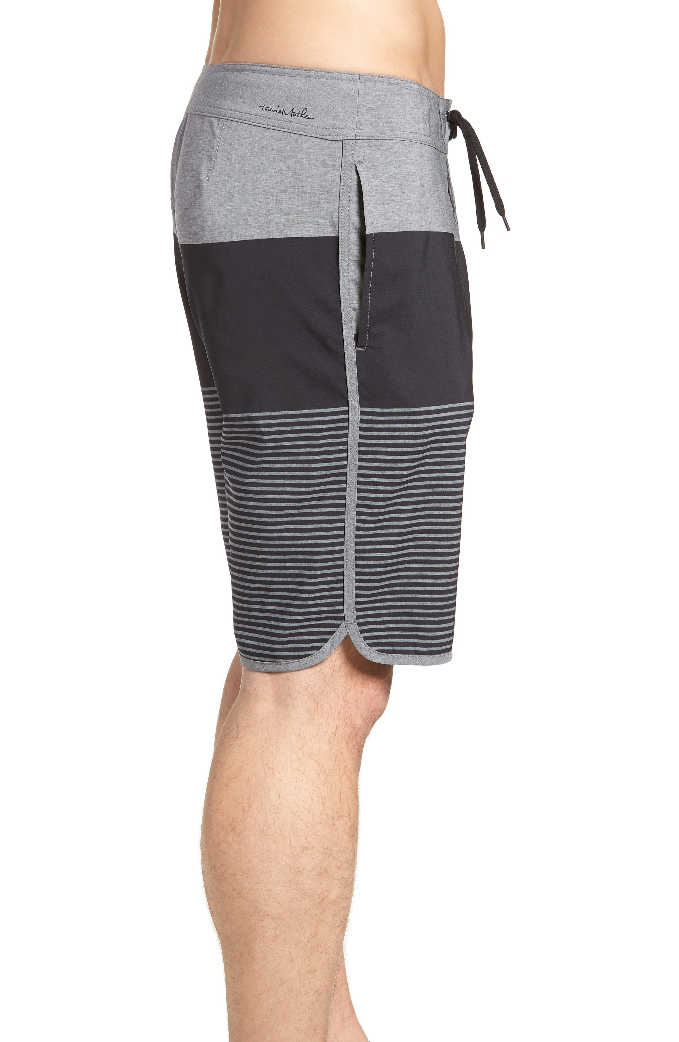 Claim It Regular Fit Board Shorts,                             Alternate thumbnail 3, color,                             Heather Black