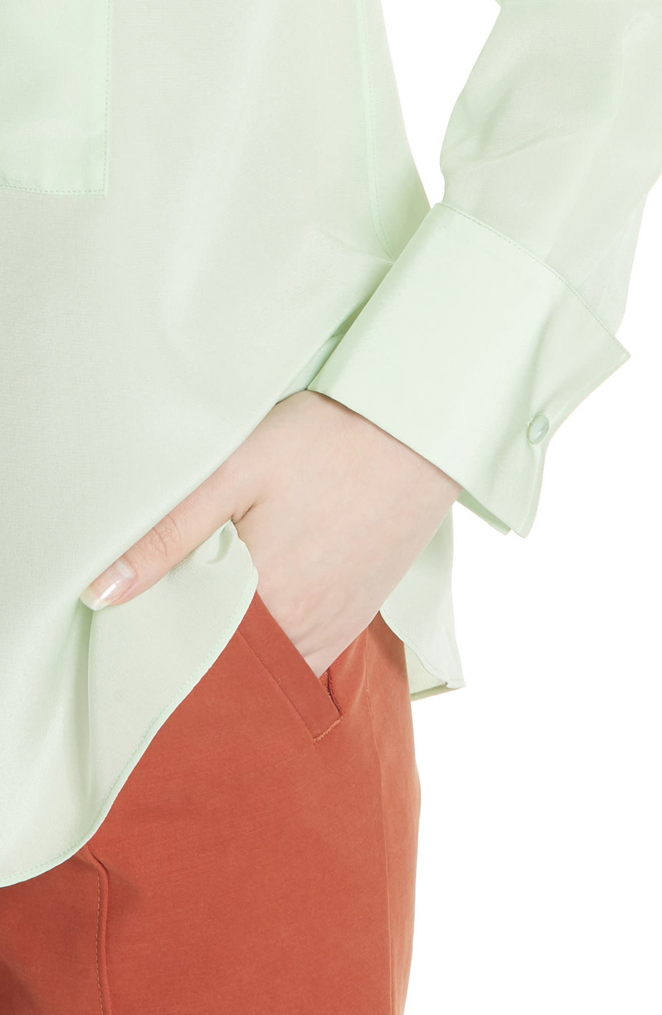 Janet Silk Top,                             Alternate thumbnail 4, color,                             Crushed Mint