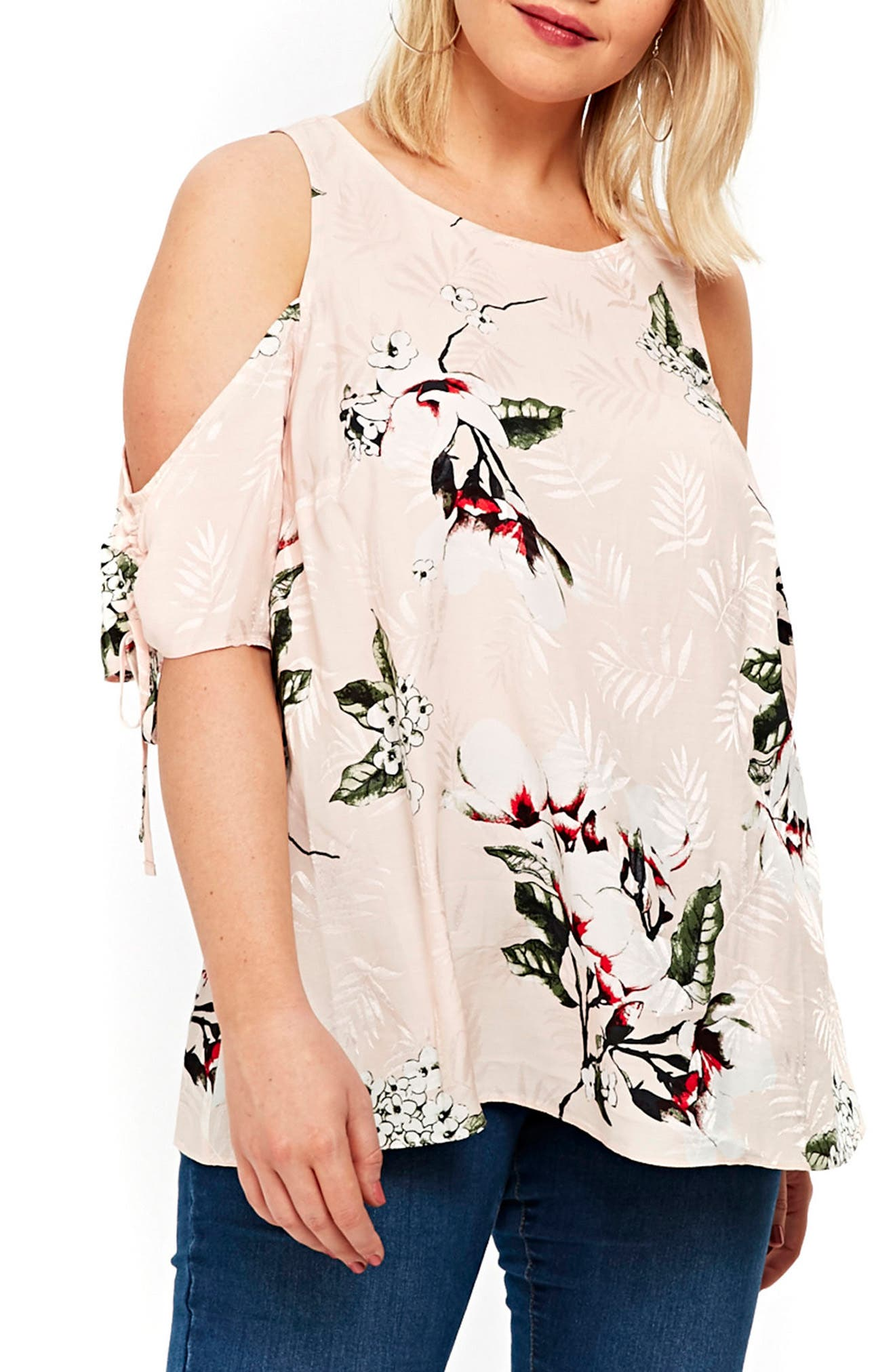 Evans Floral Cold Shoulder Top (Plus Size)