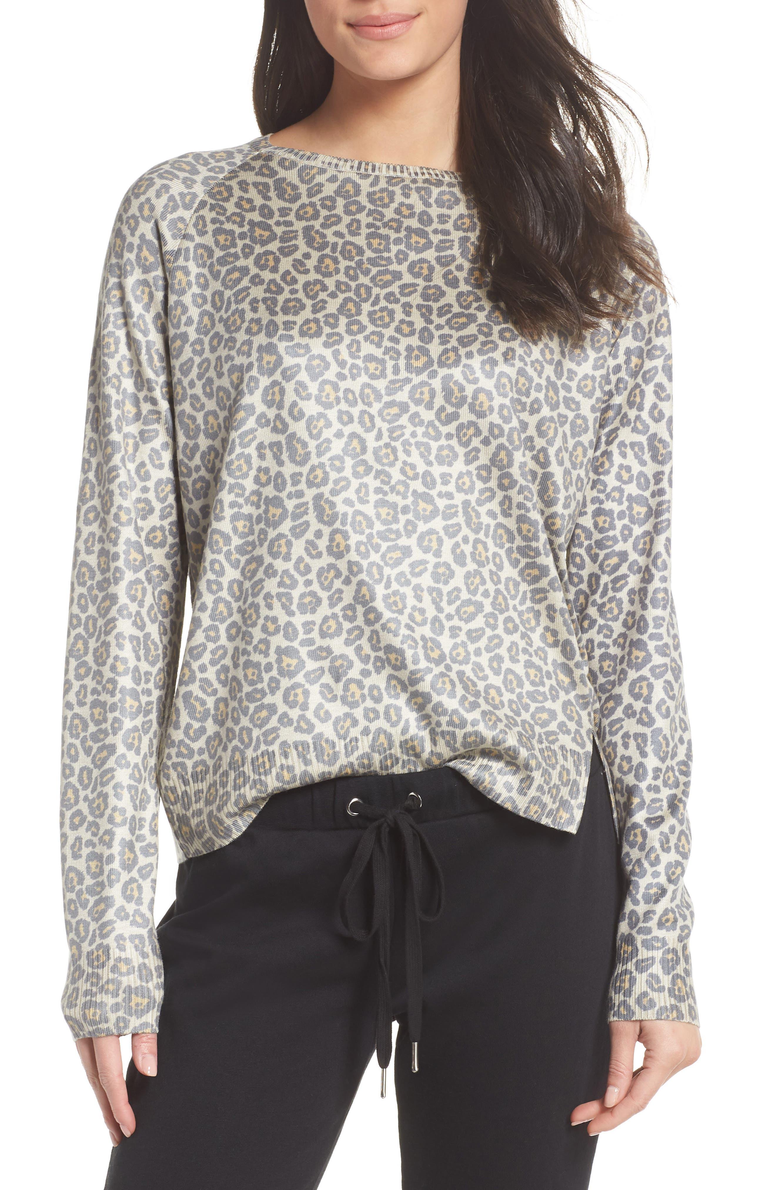 Leopard Print Sweatshirt,                             Main thumbnail 1, color,                             Beige Leopard